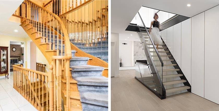 Before & After – This 1970s Staircase Was Replaced With A Modern Design