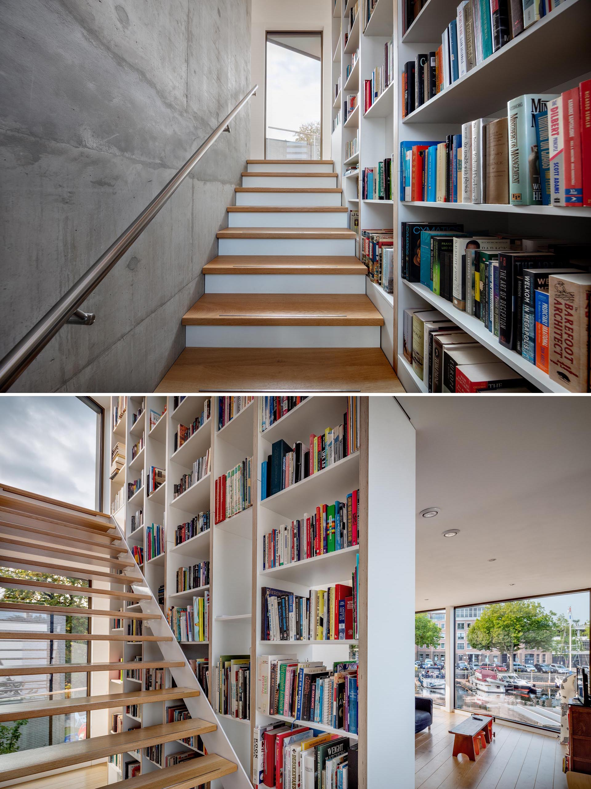 A tall bookshelf lines a staircase.