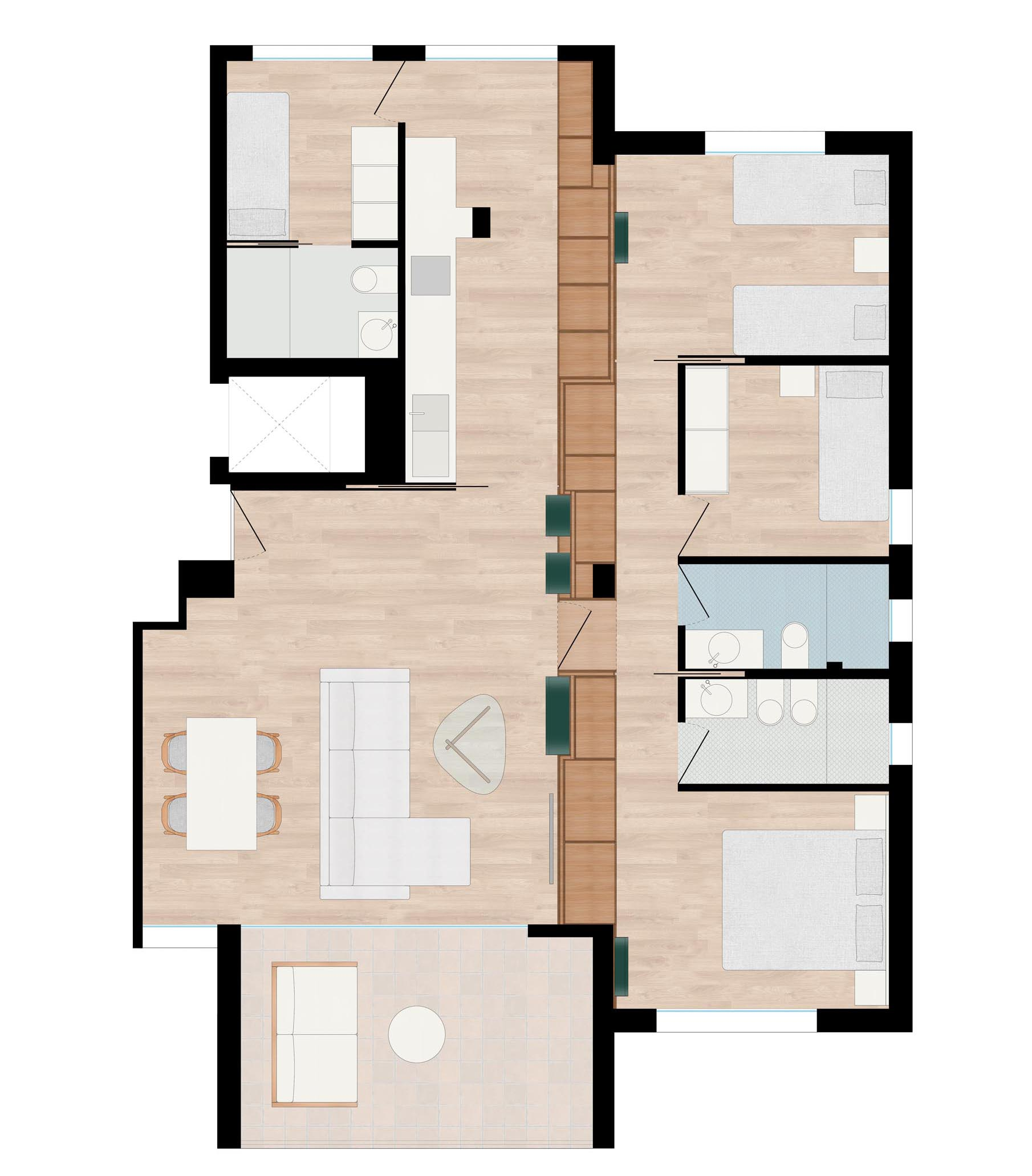 The floor plan of a modern apartment that has a wood storage wall.