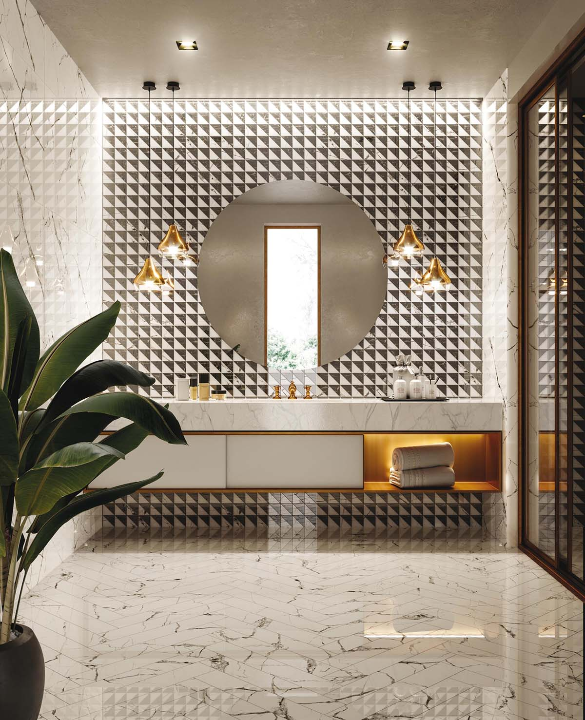 Characterized by bold geometric shapes and decadent details, deco tiles feature chevron patterns, arches of contrasting marble, and scallops full of color.
