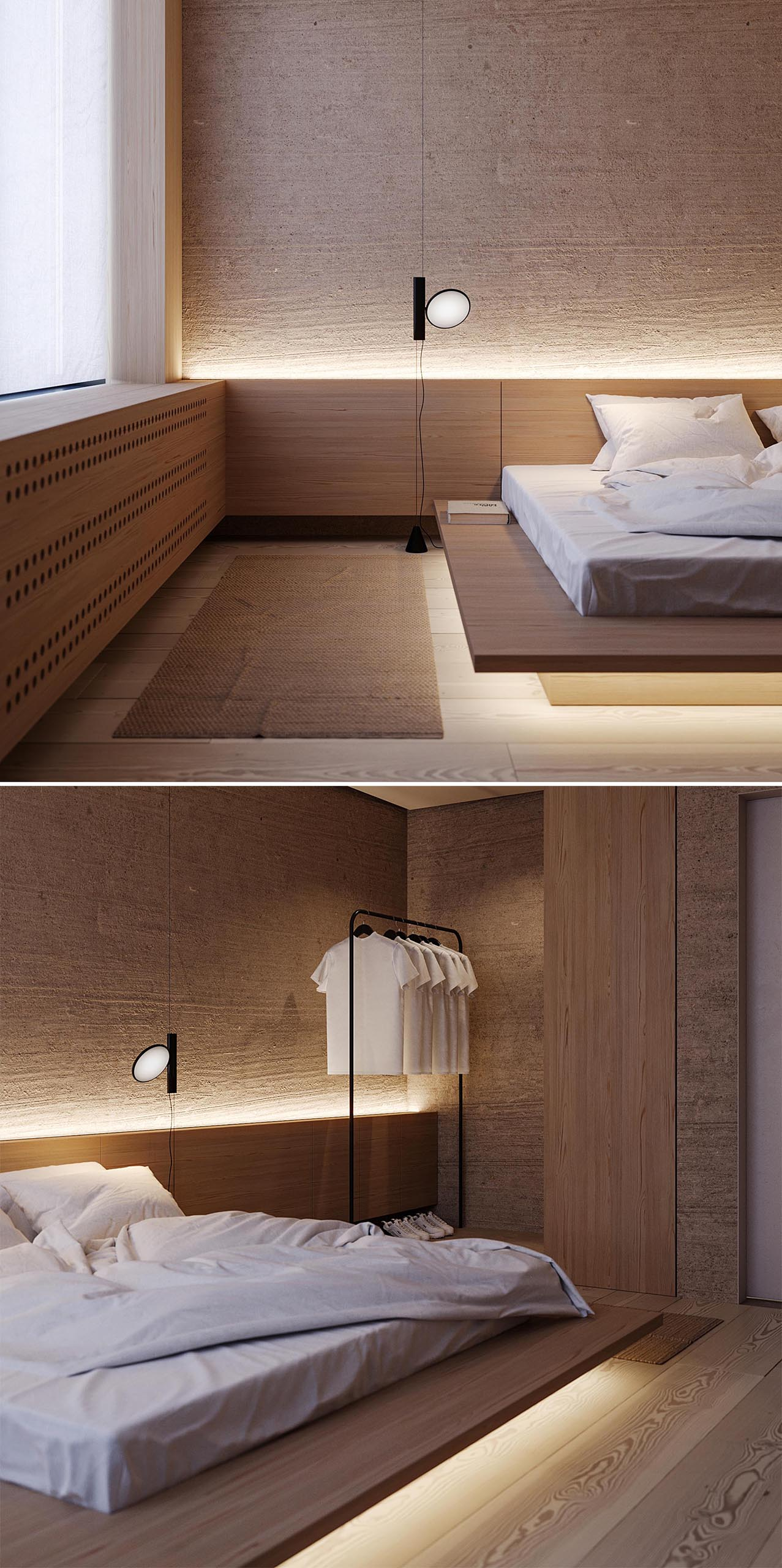 A modern bedroom that uses wood furniture and LED lighting to create a warm and calming environment.