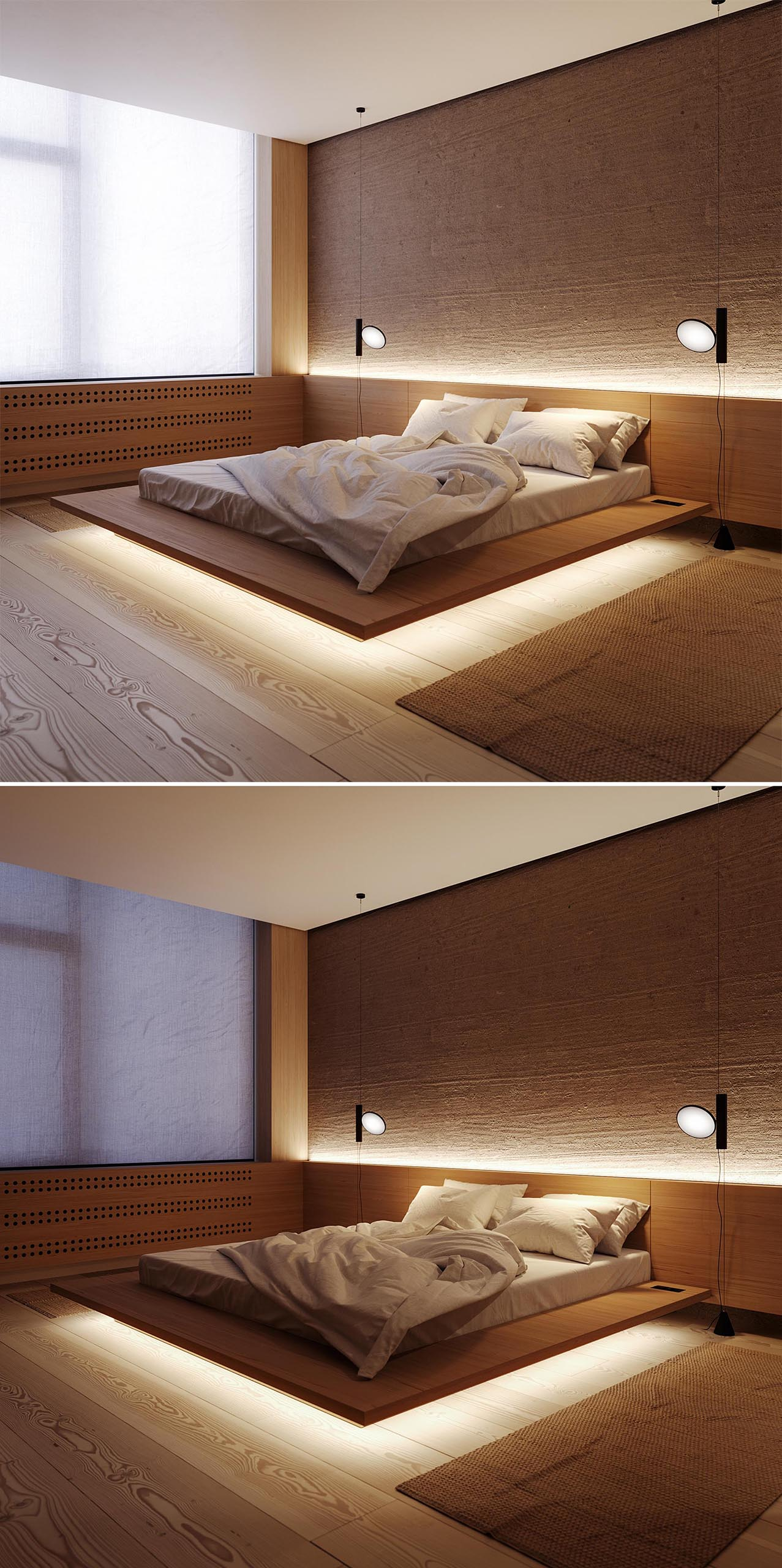 A modern bedroom with LED lighting that highlights the headboard and gives the bed the appearance of floating.