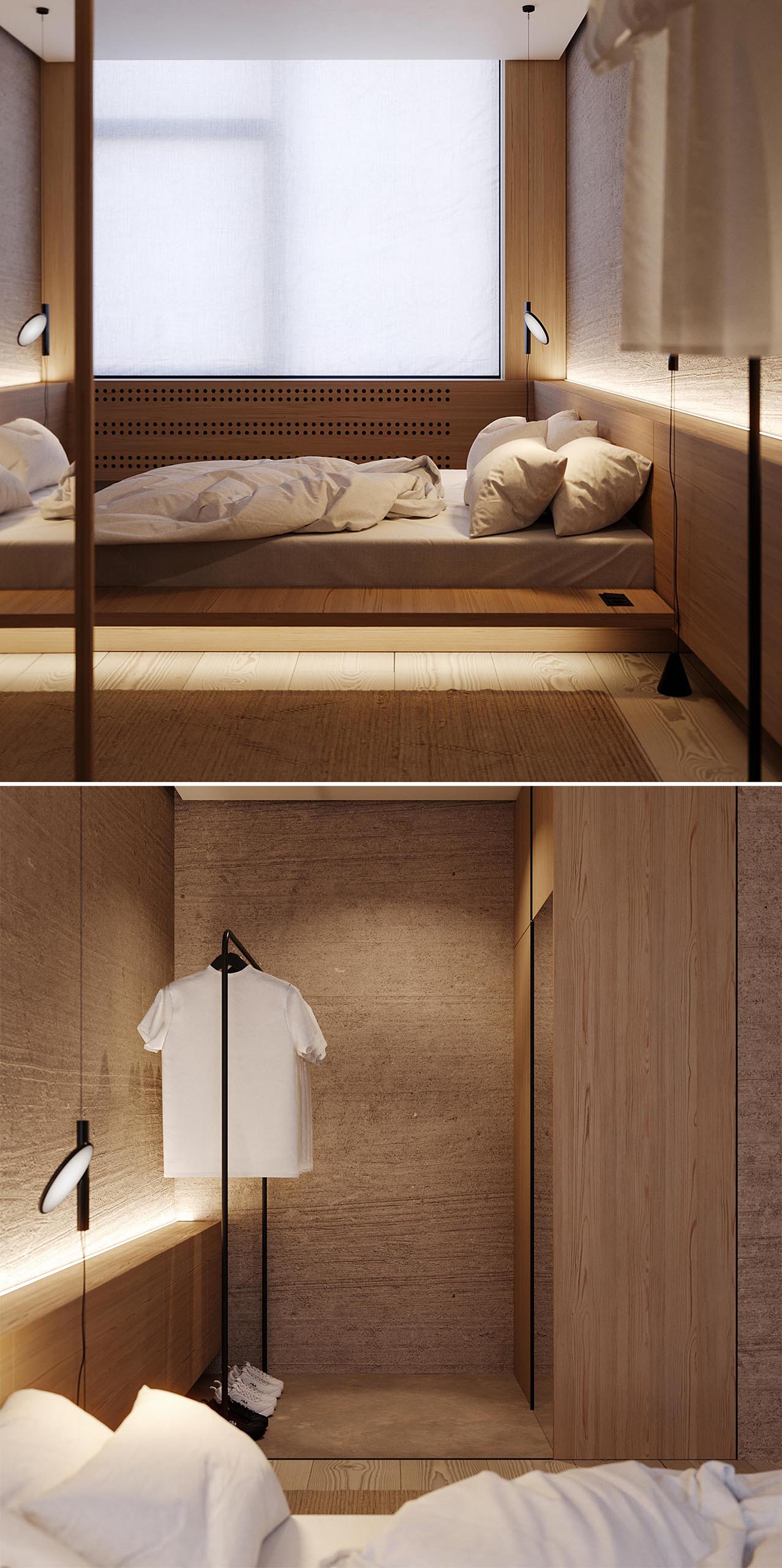 A wood headboard with LED lighting lines the wall and acts as a small shelf.