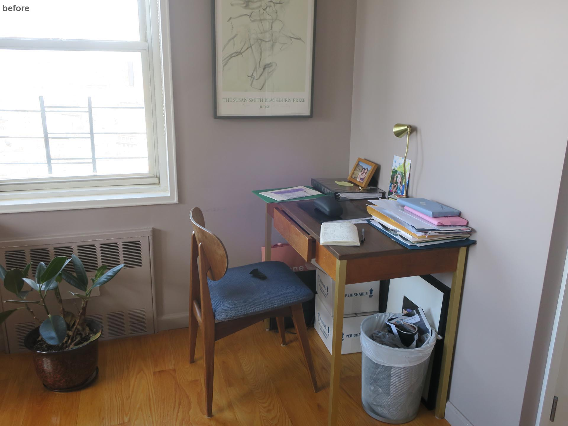 Before photo - a small desk in the corner with hardly any storage.