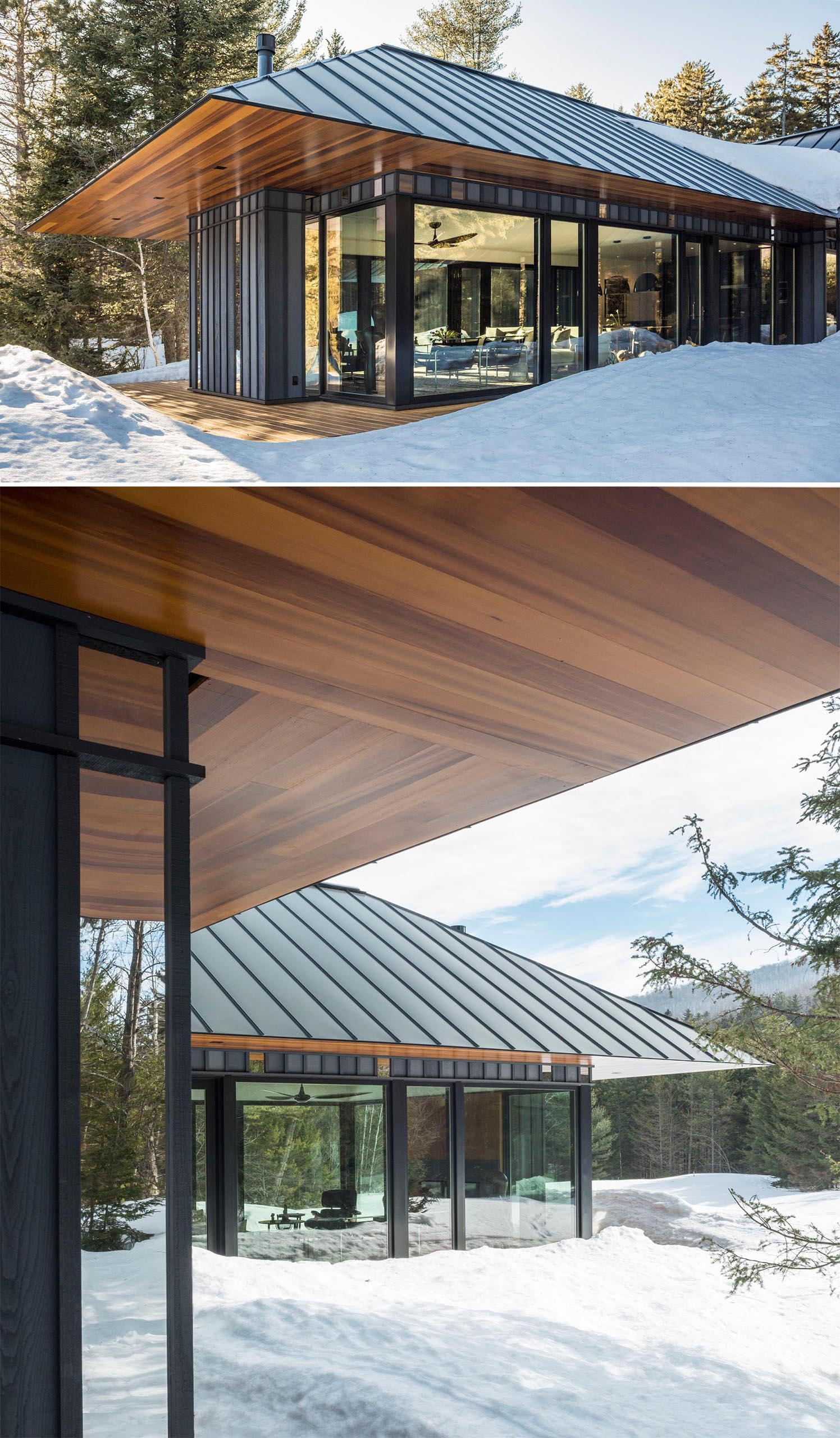 This modern home has standing seam black metal roof, and a knife-edged cedar soffit that's aligned to the cedar deck below.