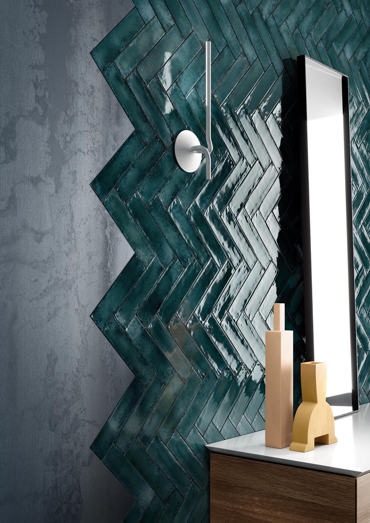 Blue-green tiles combine the tranquil effects of blue with the optimistic feeling of green.