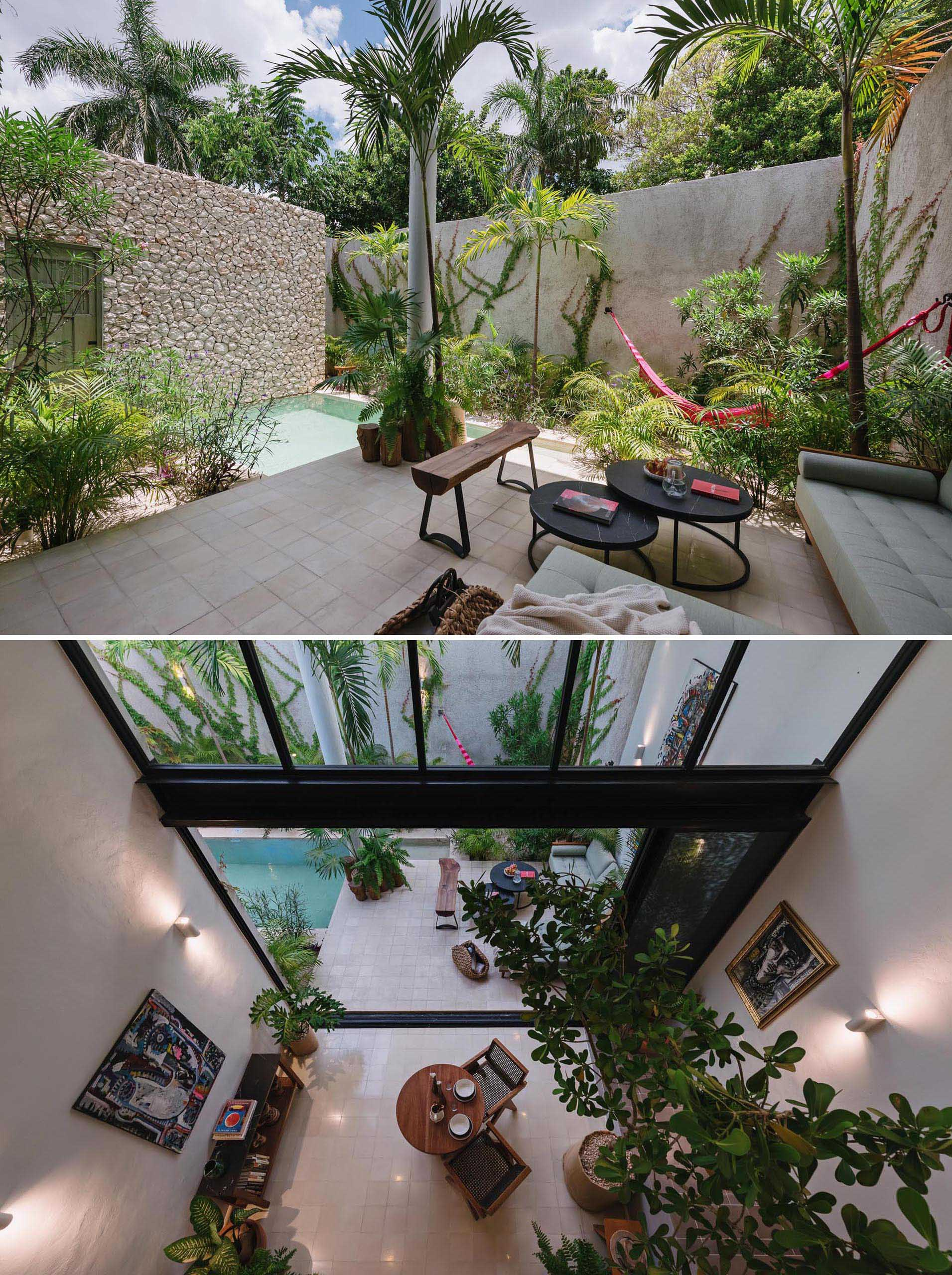 An outdoor living room with a comfortable sofa, a hammock surrounded by tropical plants, and a small swimming pool.
