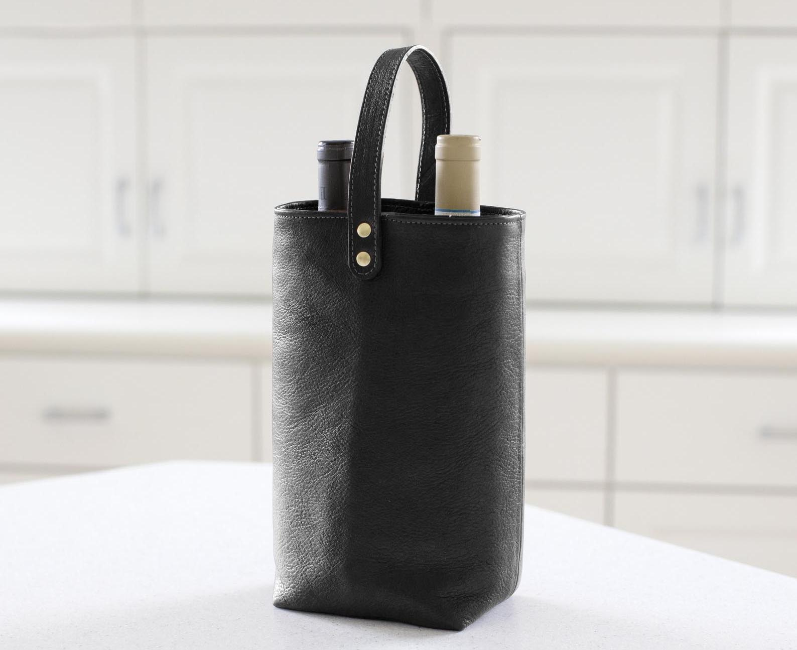 Gift Idea - Modern black leather wine tote for two.