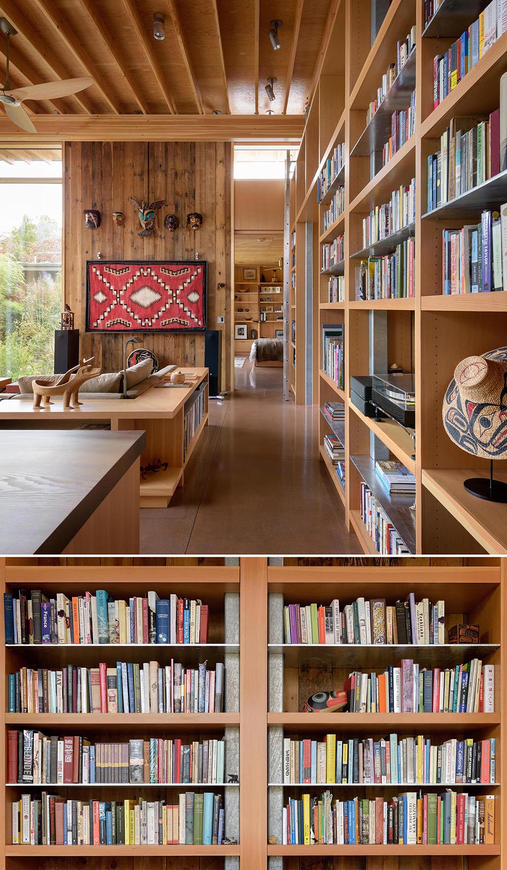 A cabin with floor-to-ceiling bookshelves.