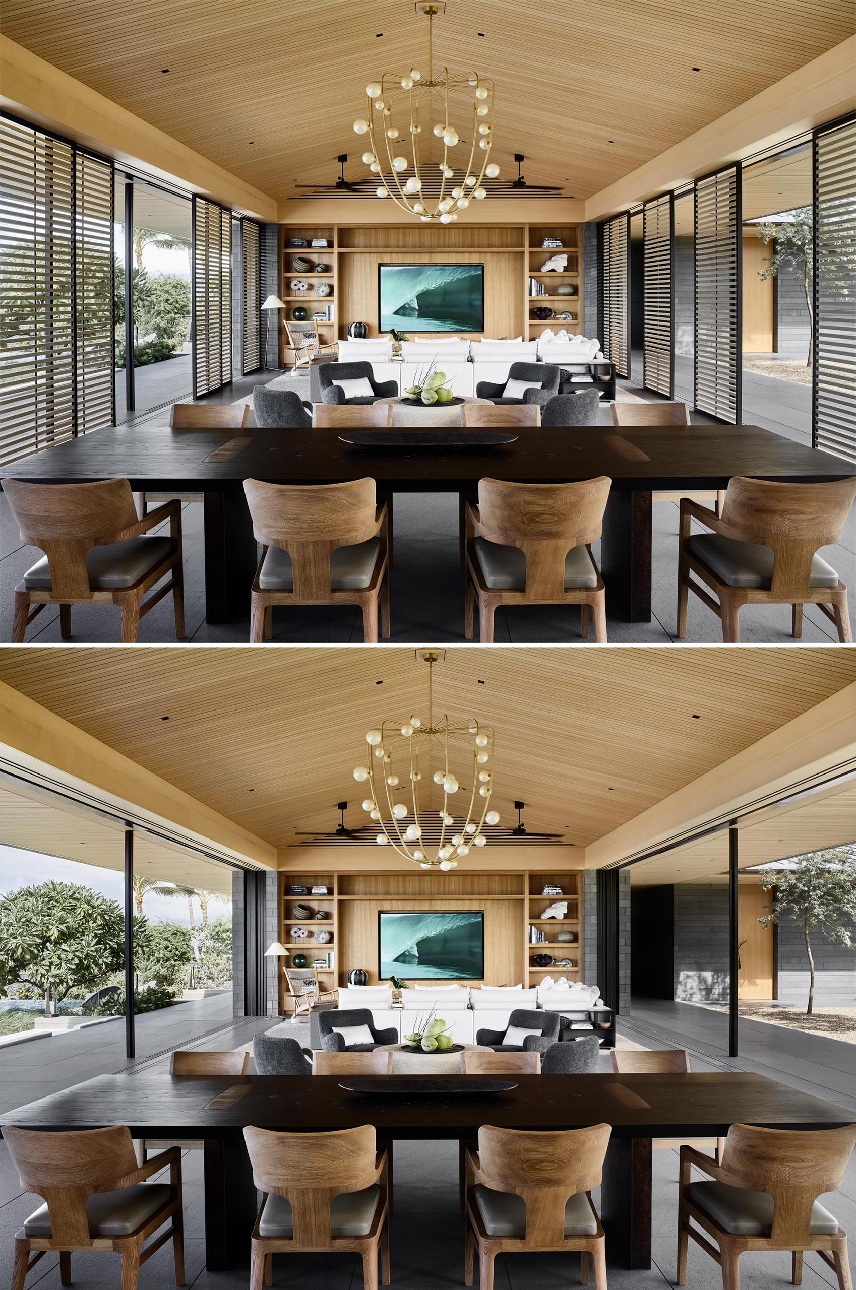 Screens and glass walls open this great room to the outdoors.