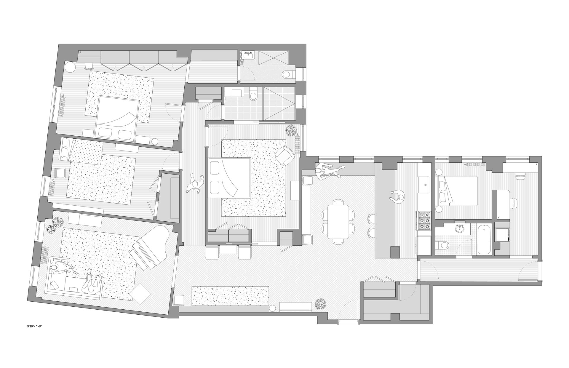The floor plan of a four bedroom apartment.