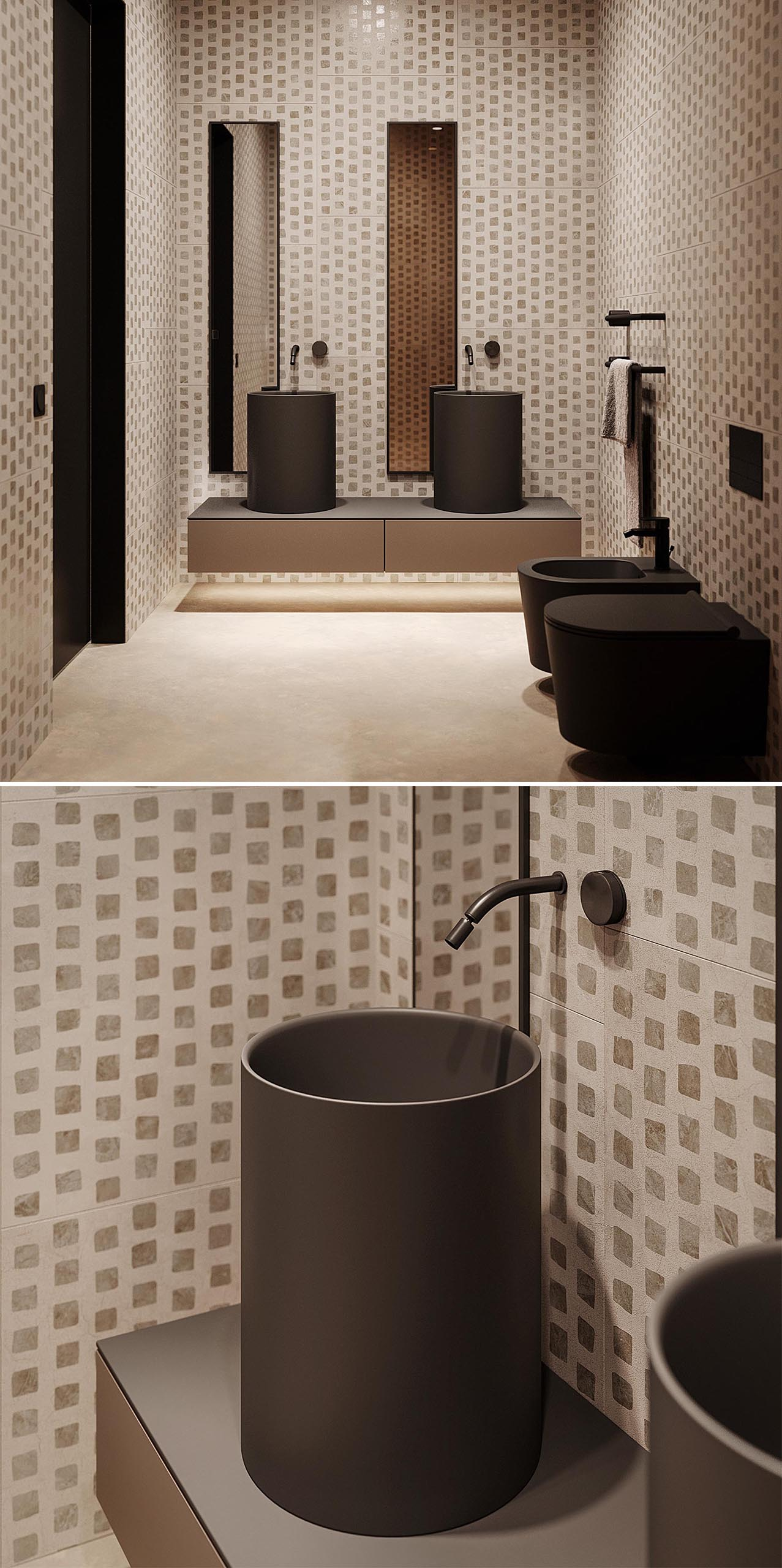 A modern bathroom with patterned walls, black accents, tall thin mirrors, and walk-in shower with tinted glass shower screen.