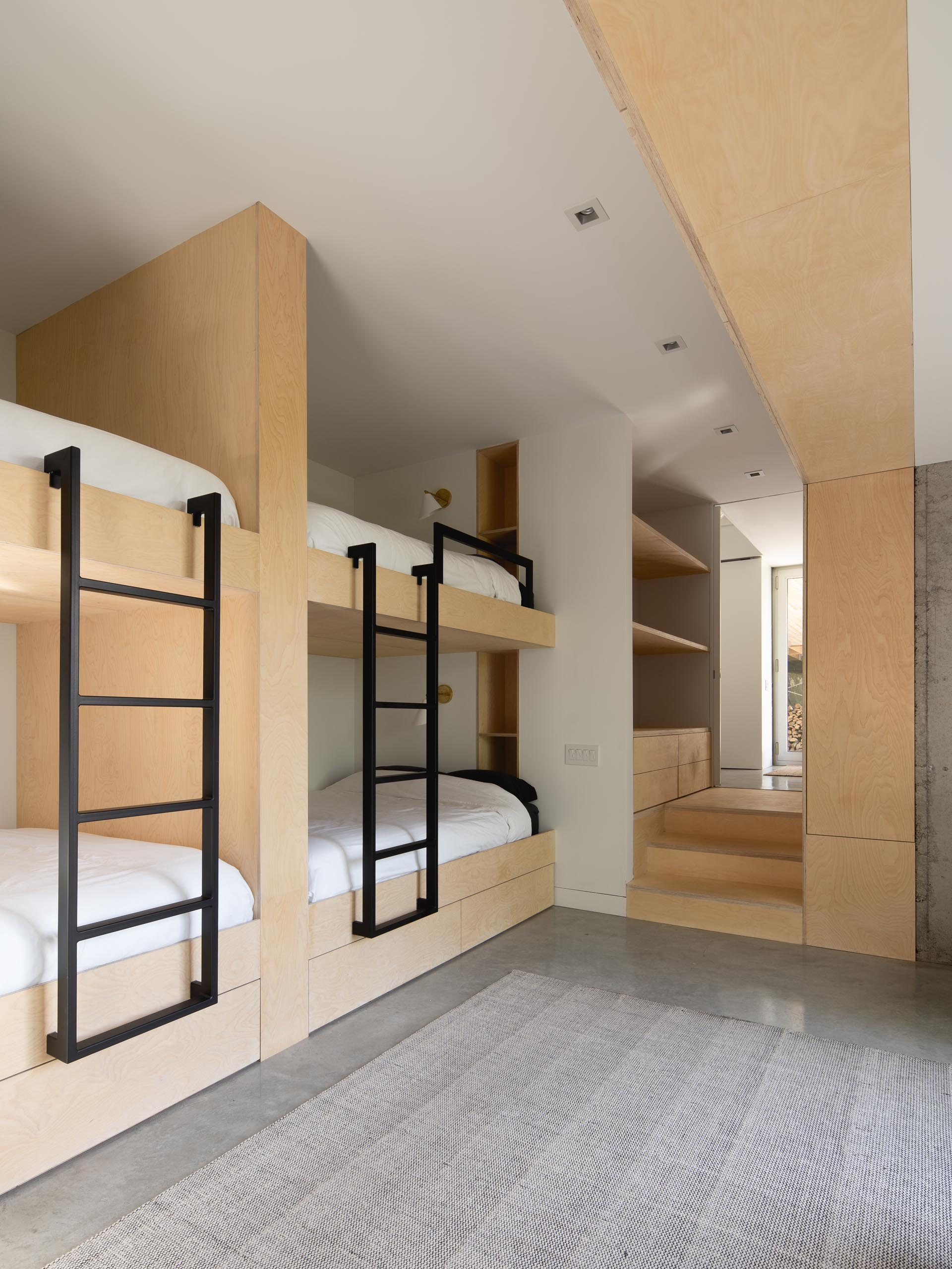 A modern bunkroom capable of sleeping up to 10 guests.