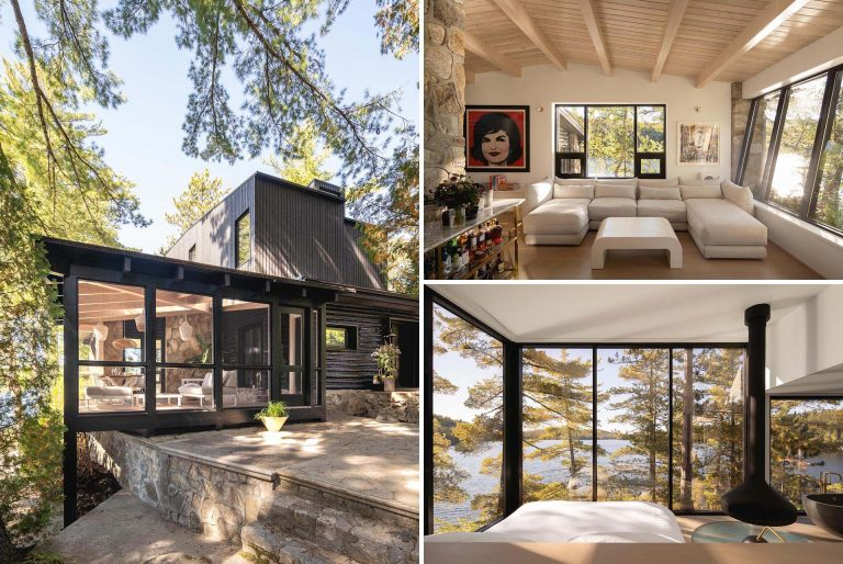 A Black Exterior And New Living Spaces Were Part Of Remodeling An Old Log Cabin Into A Contemporary Home