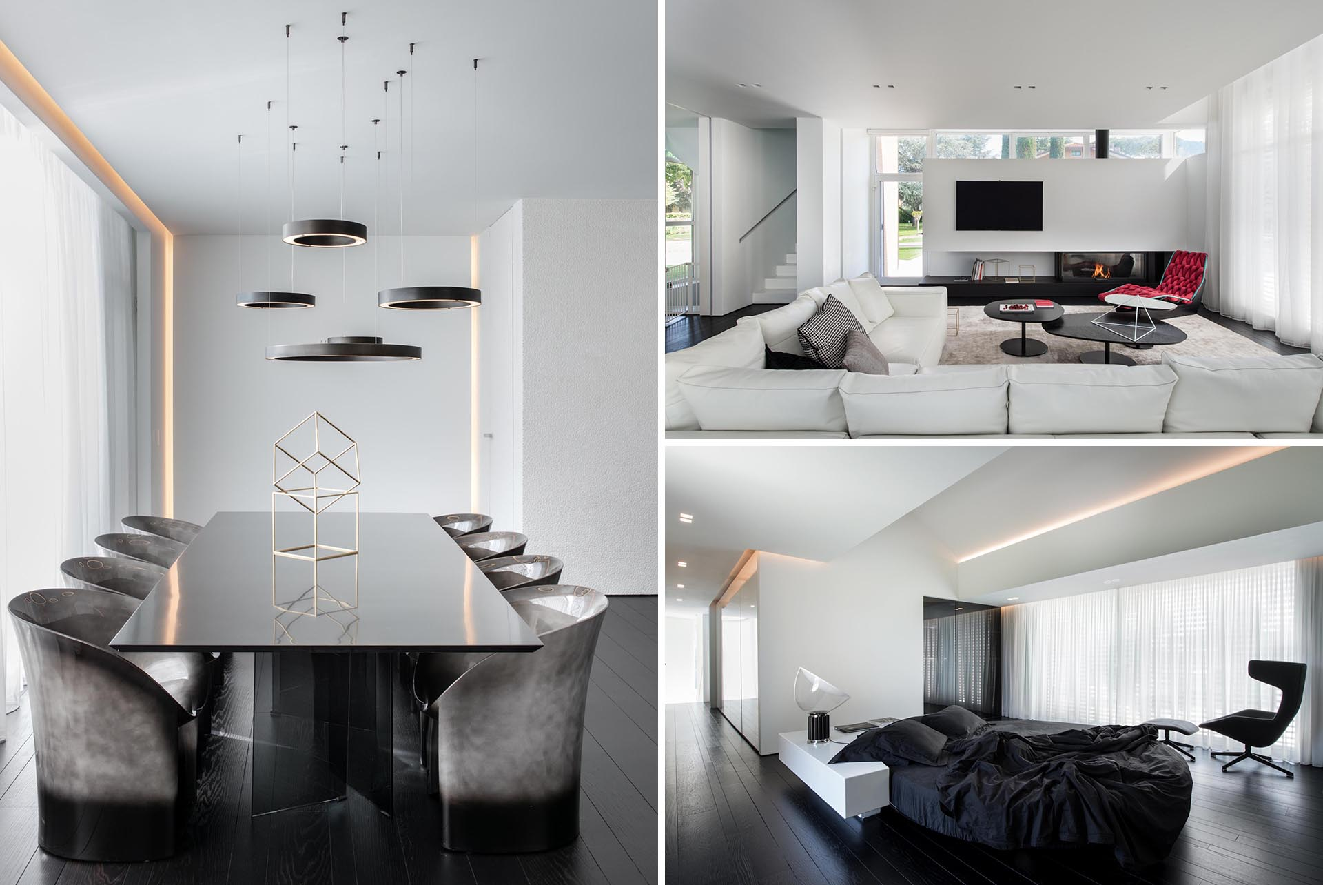 A modern home with a black and white color palette.