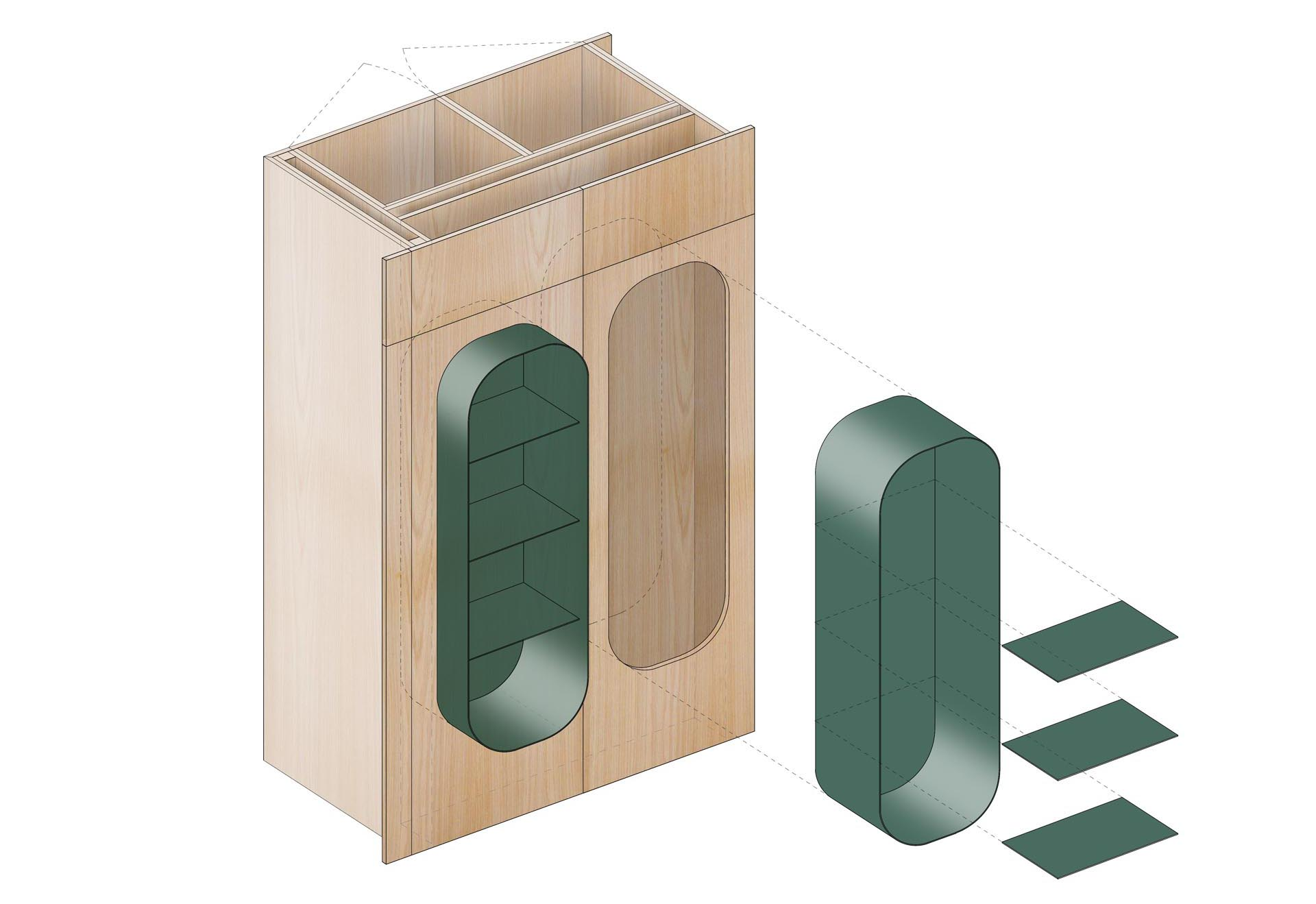 A diagram that shows partially built-in shelving.