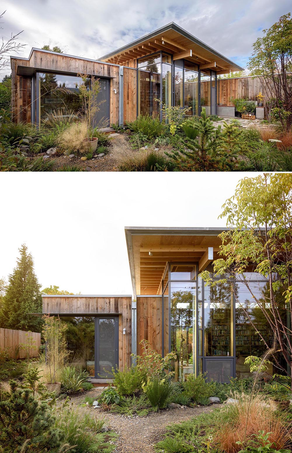 A modern wood cabin with fir wood exterior siding and glass walls.