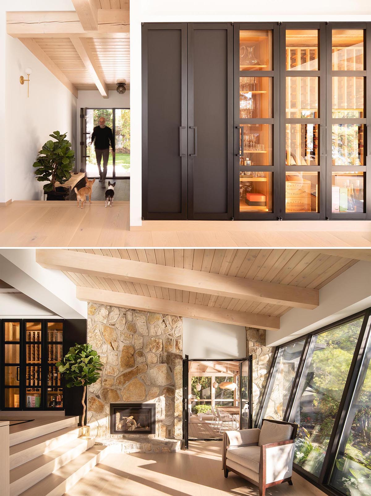 Highlighted by a black door and glass walls, is a dedicated wine storage area.