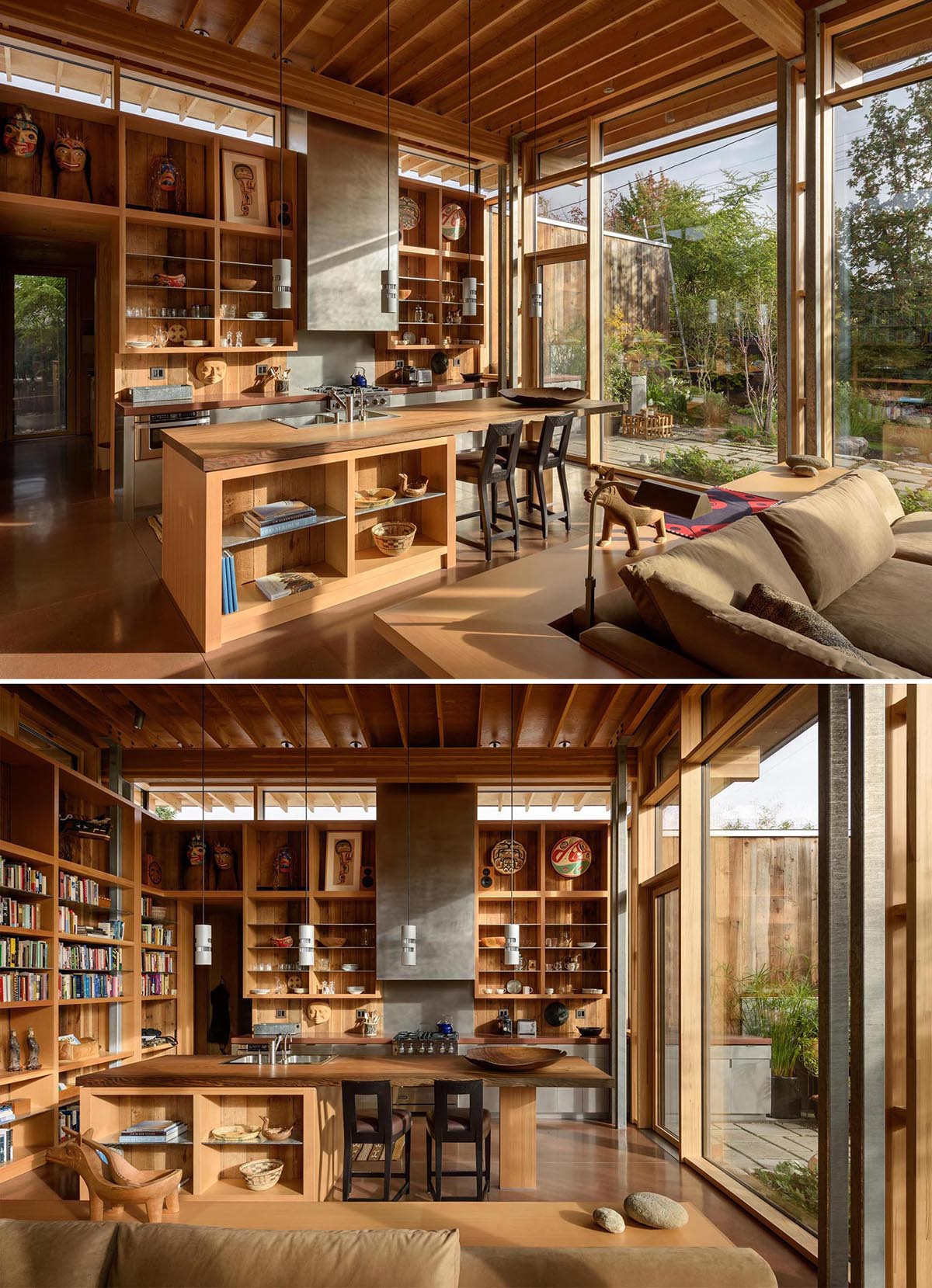 A contemporary cabin kitchen with a wood island and walls of shelving.