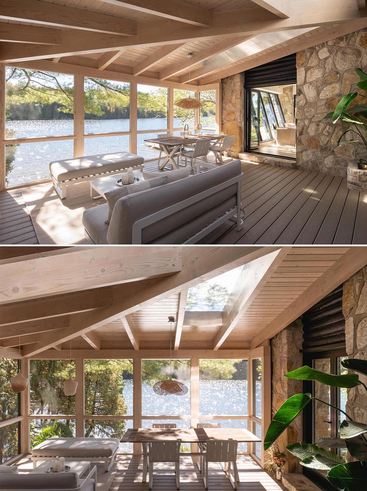 This modern cabin has a set of doors that open to a screened in porch, that's furnished with a dining table and a sofa with matching bench.