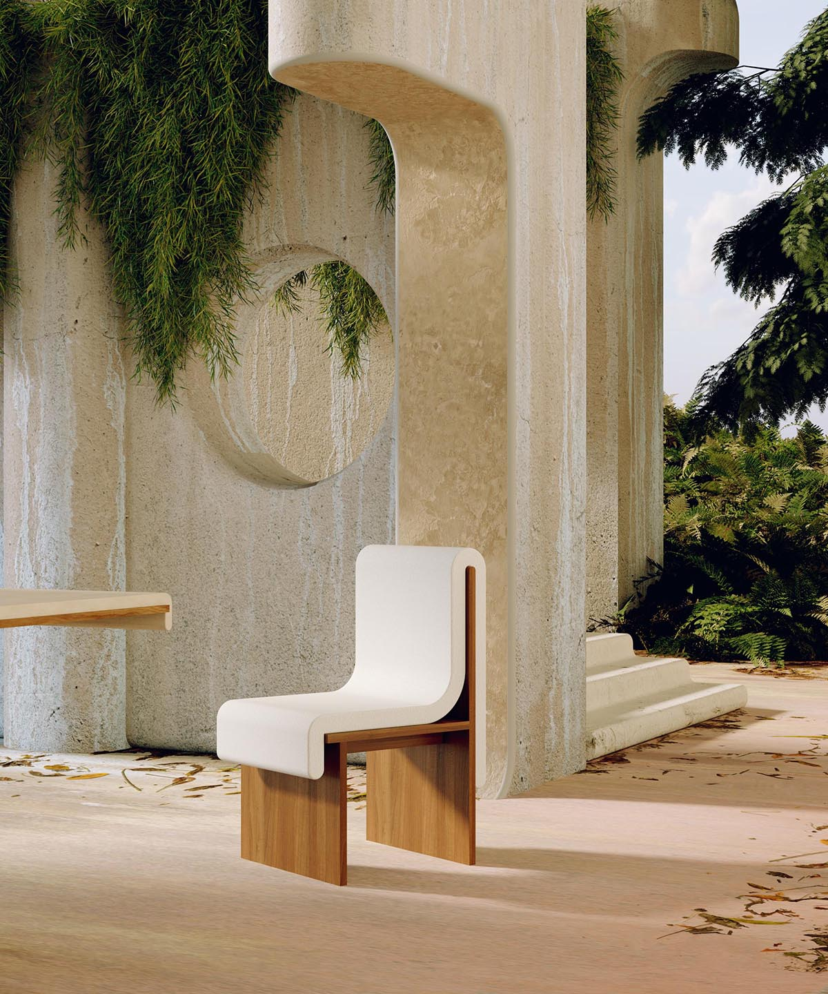 A modern wood chair with white seat.