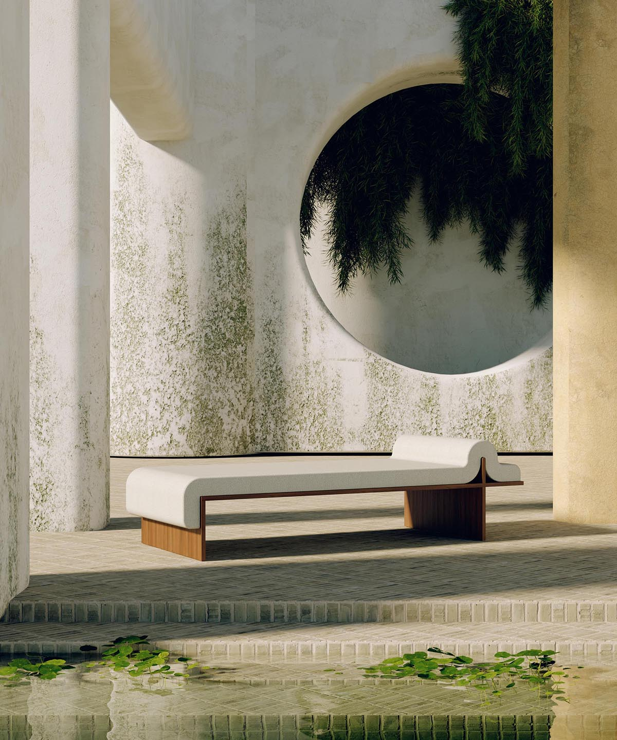 A modern daybed with a white upholstered cushion.
