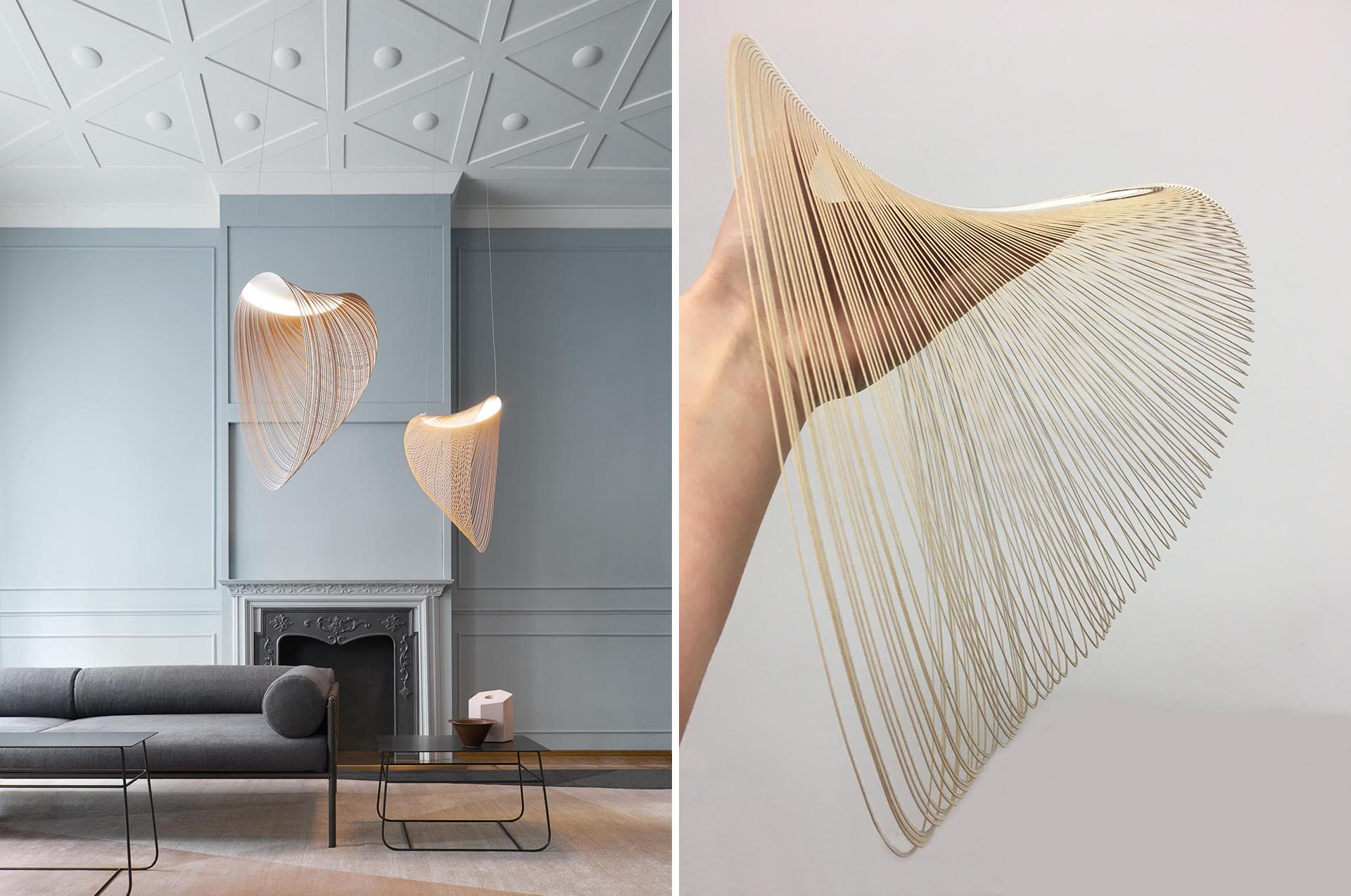 A delicate pendant light made from laser cut wood and LEDs.