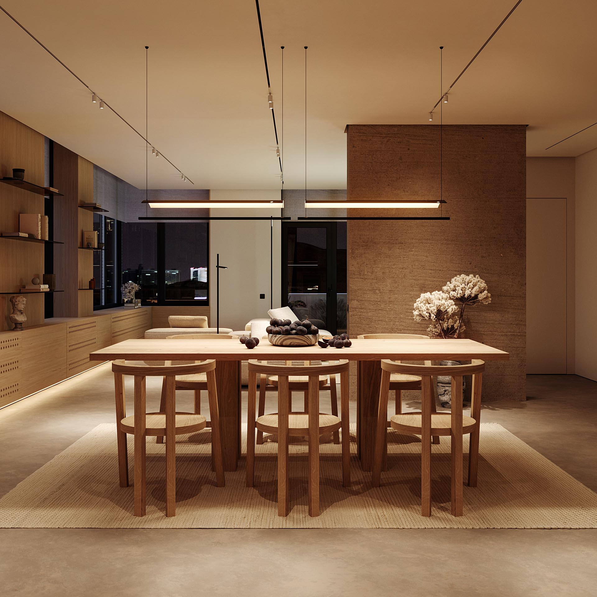 A modern open plan living room with a wood table and matching chairs.