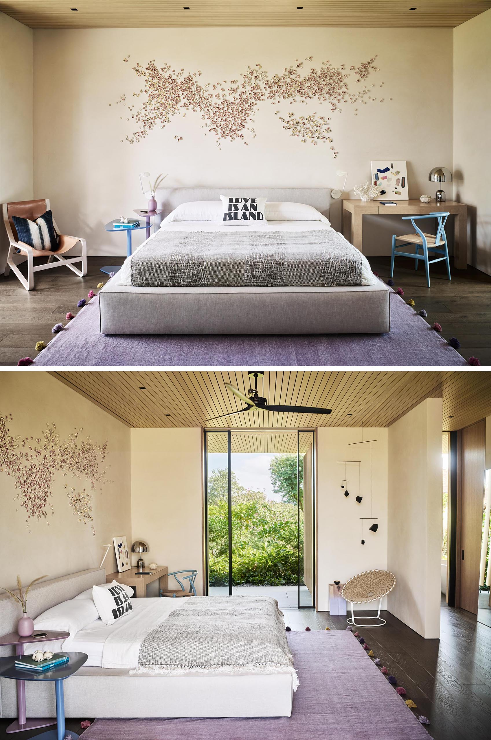 A modern bedroom with a neutral color palette and artwork on the wall