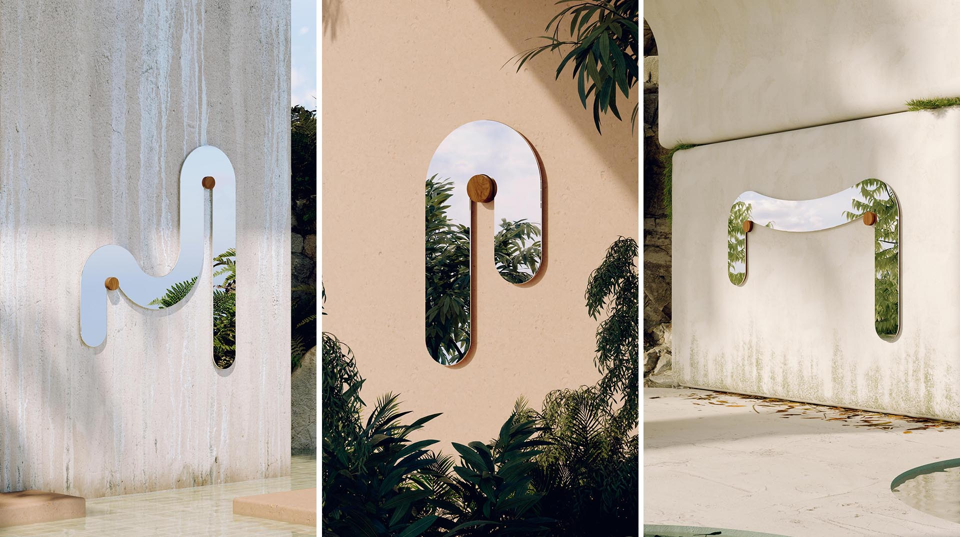 A collection of modern mirrors that appear to melt around their support.