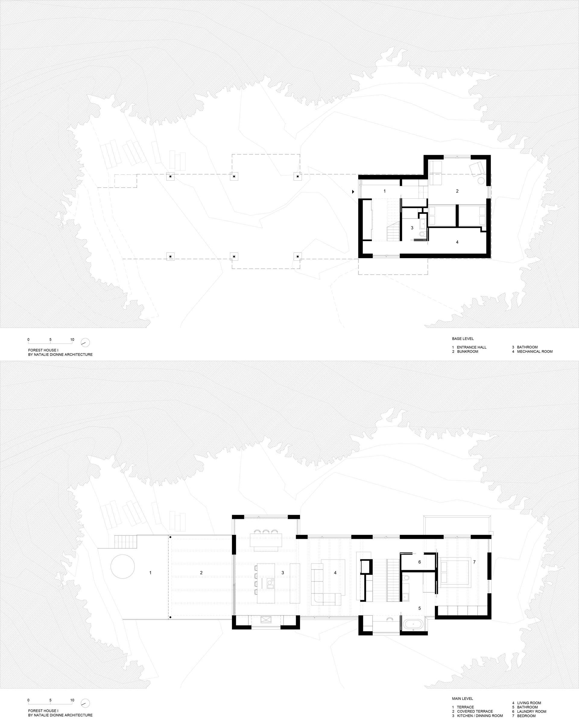 The floor plan of a modern two story home.