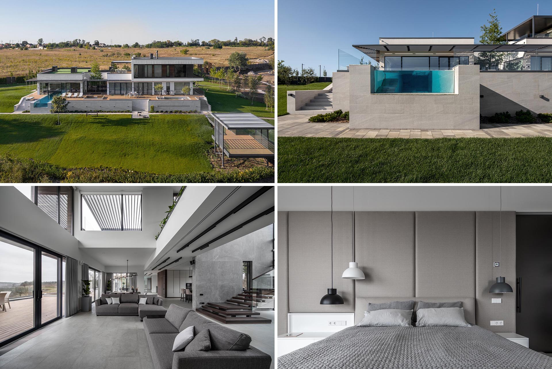 A modern home with see-through pool, a gray interior, and hotel-like bedrooms.