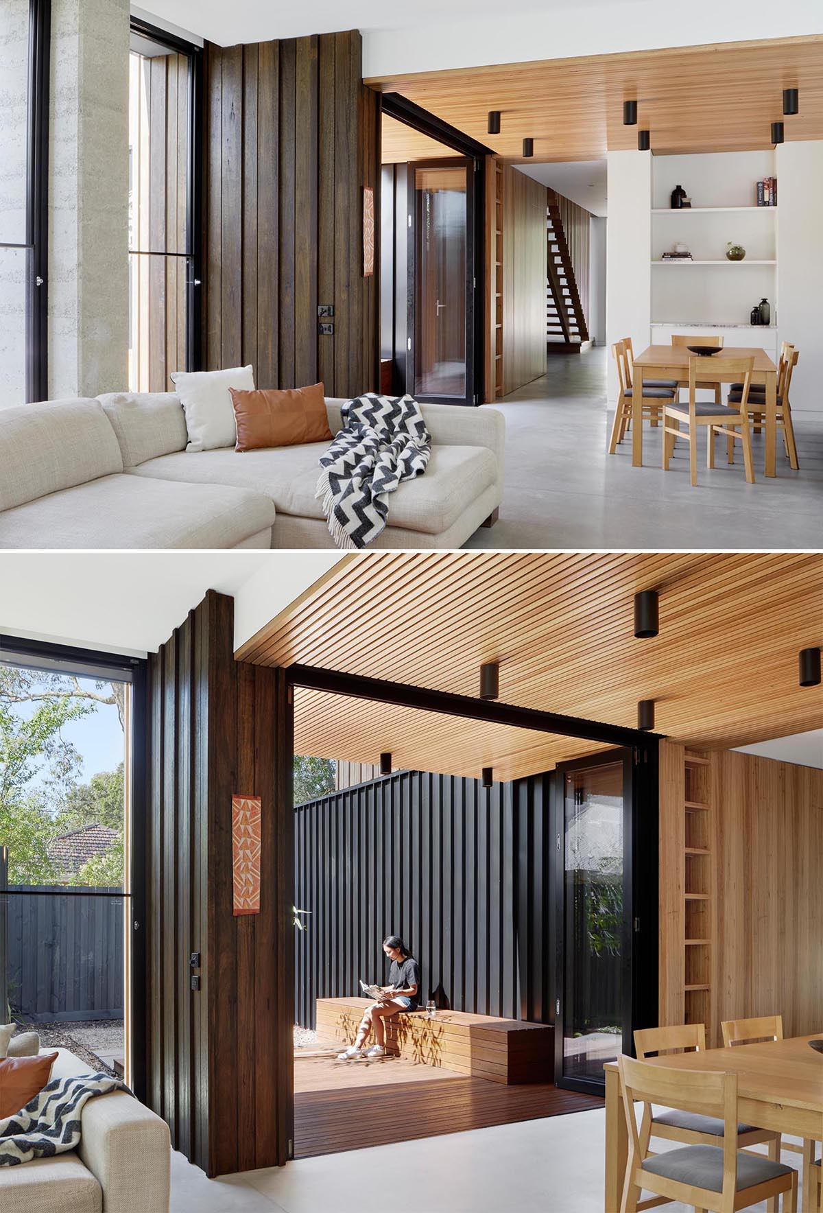 A timber batten ceiling designates the dining room, and extends out to a deck with a bench, with bi-fold doors connecting the two spaces.