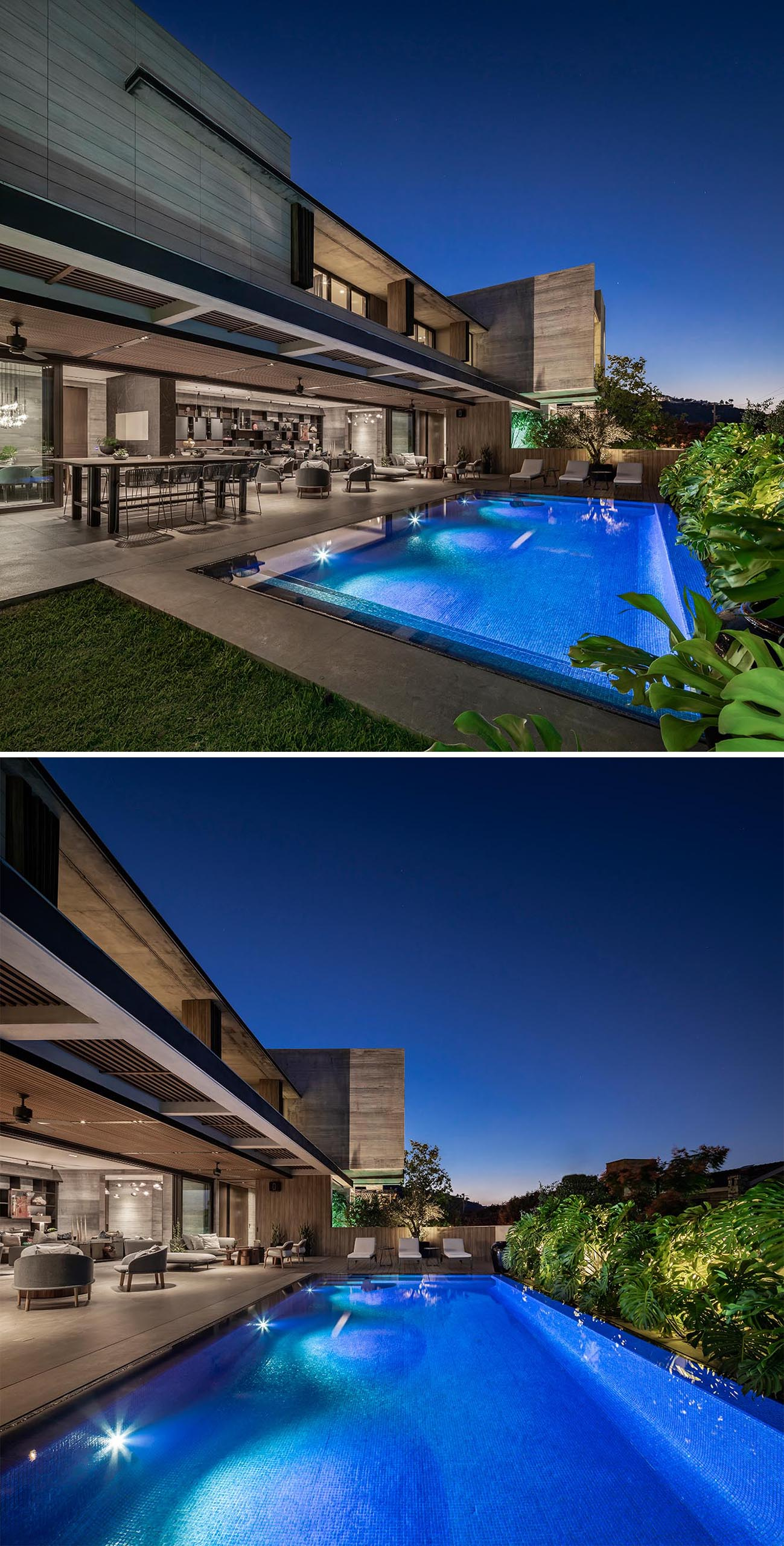 A modern concrete house with a swimming pool and expansive outdoor entertaining areas.
