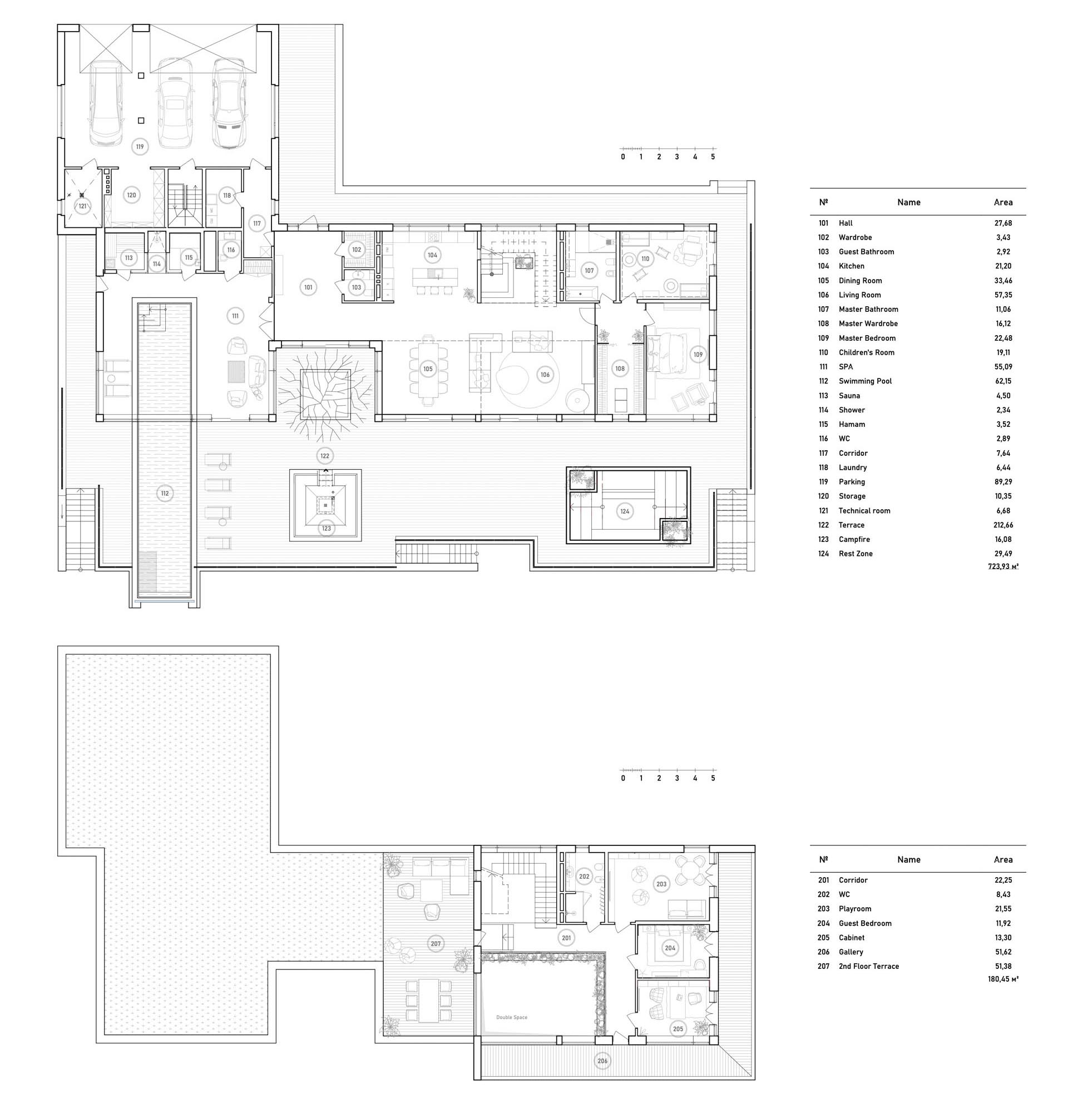 The floor plan of a modern two story house with indoor/outdoor pool.