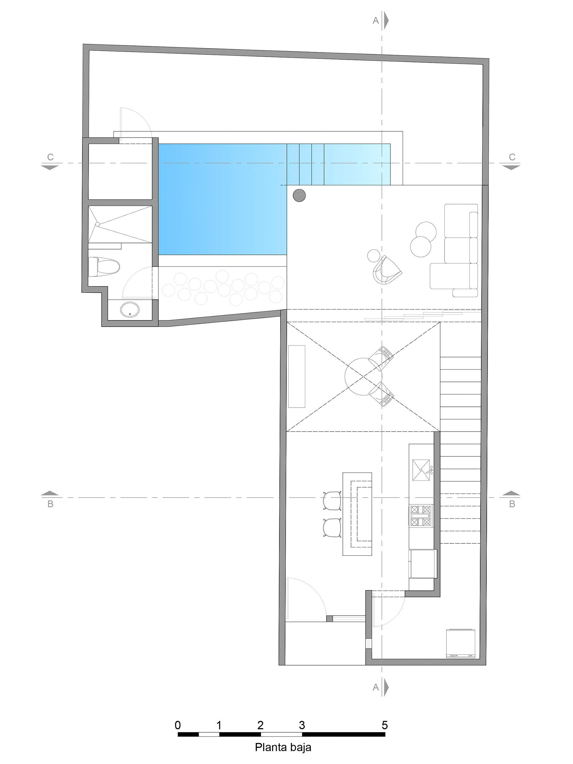 The floor plan of a modern home with a swimming pool.