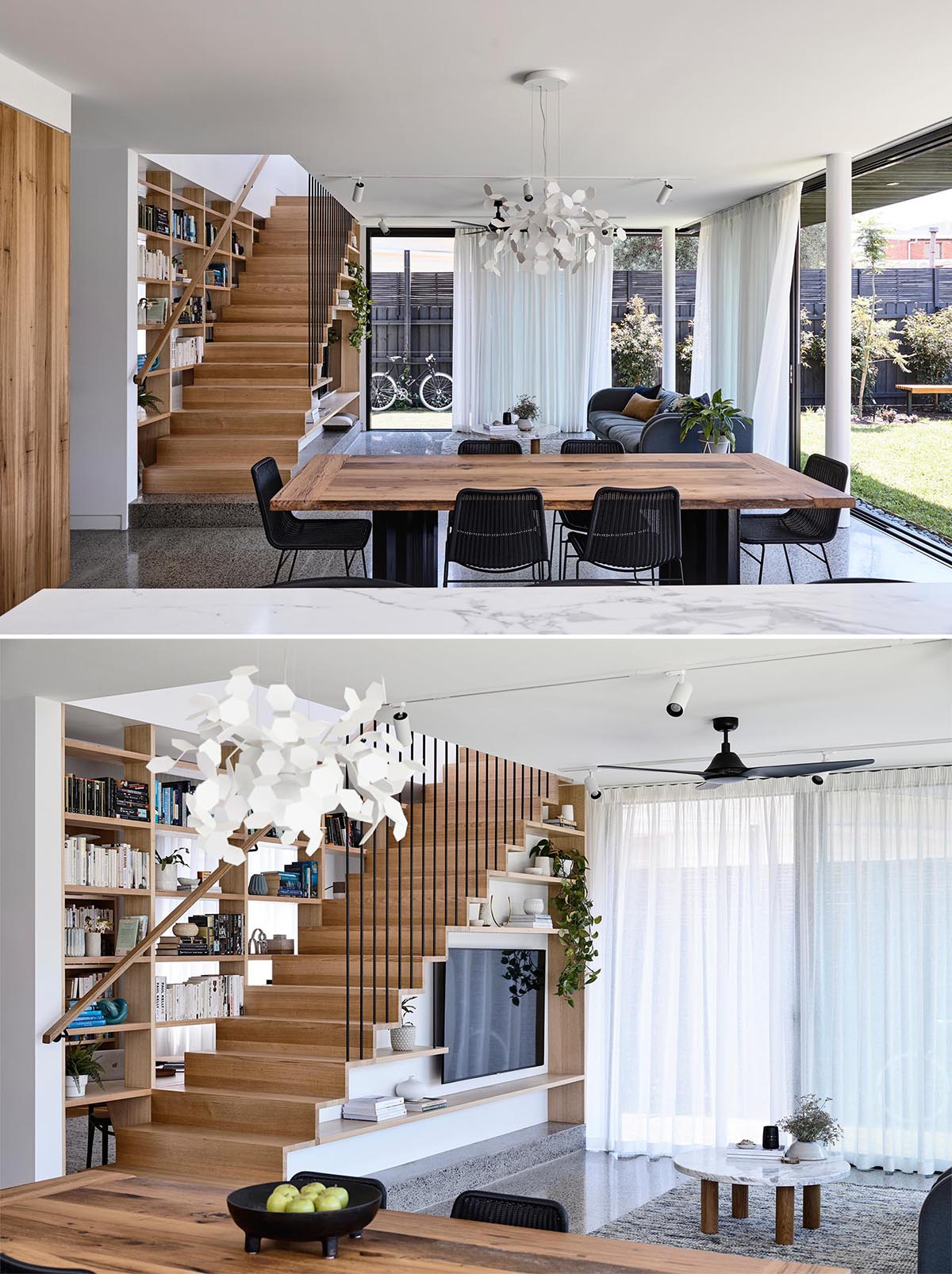 The living room is focused on the television and shelving, which have been cleverly integrated into the design of the stairs.