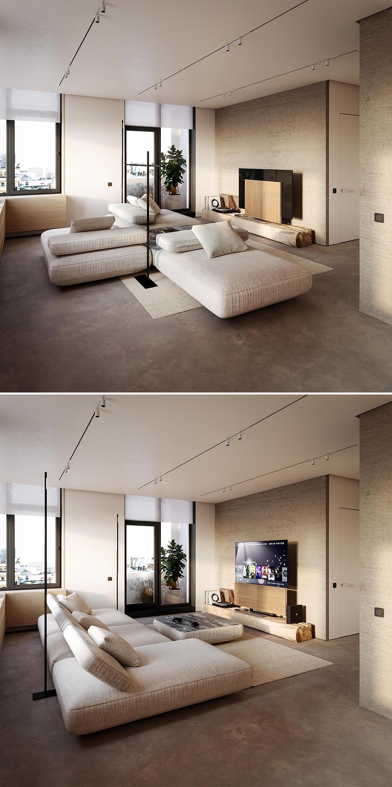 A modern living room with neutral color palette and a modular sofa.