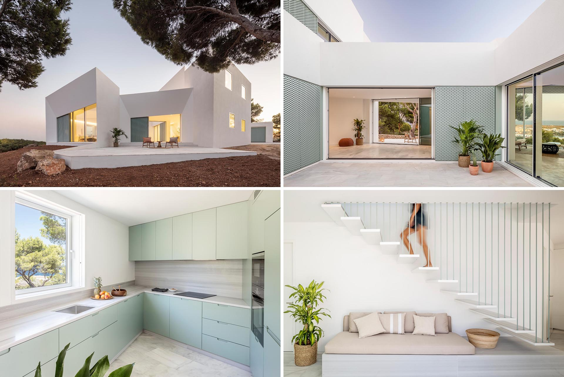 A modern white home with matching interior, has pastel turquoise design elements throughout.