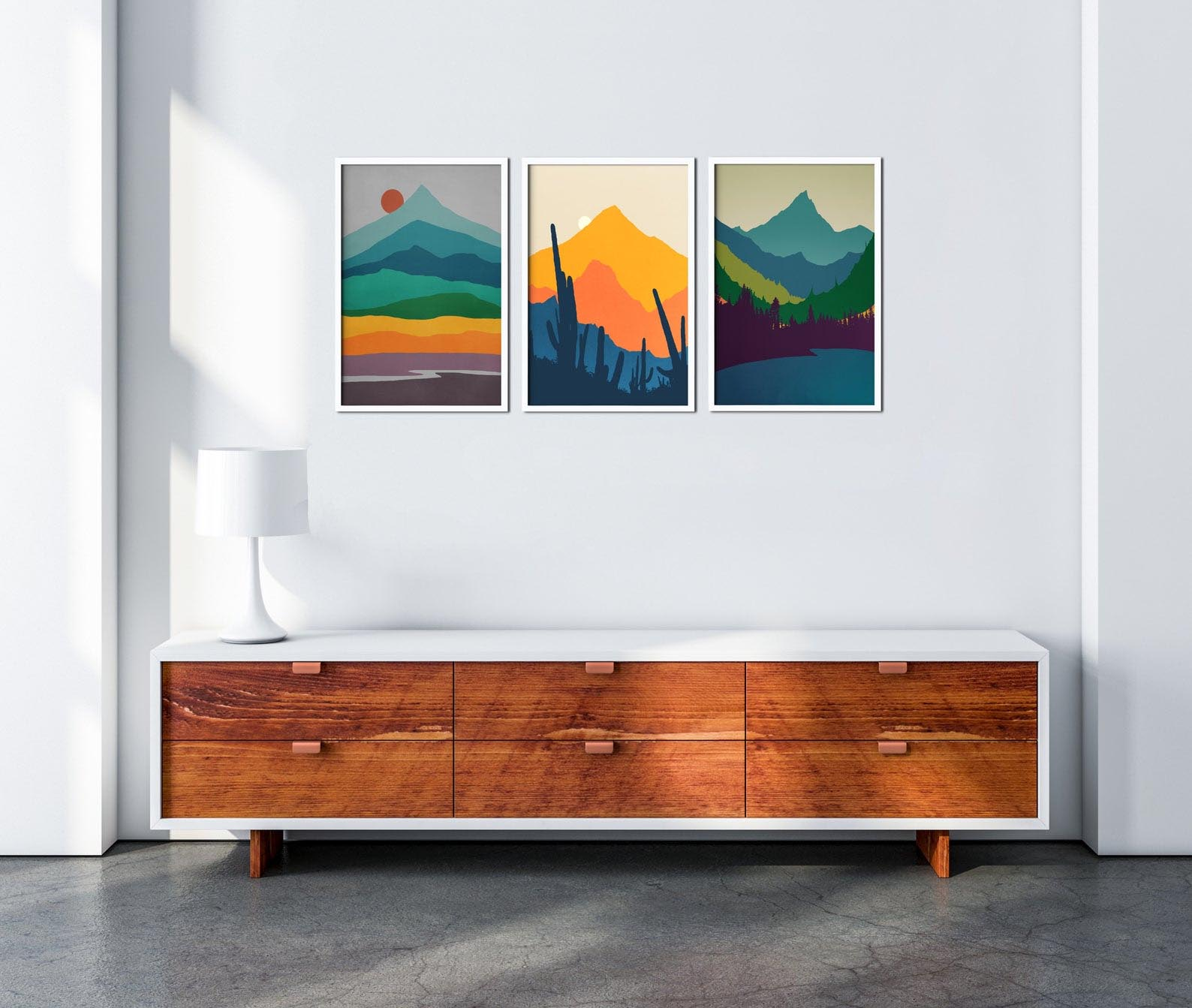 Gift Idea - Mid Century Modern Mountain Wall Art Prints