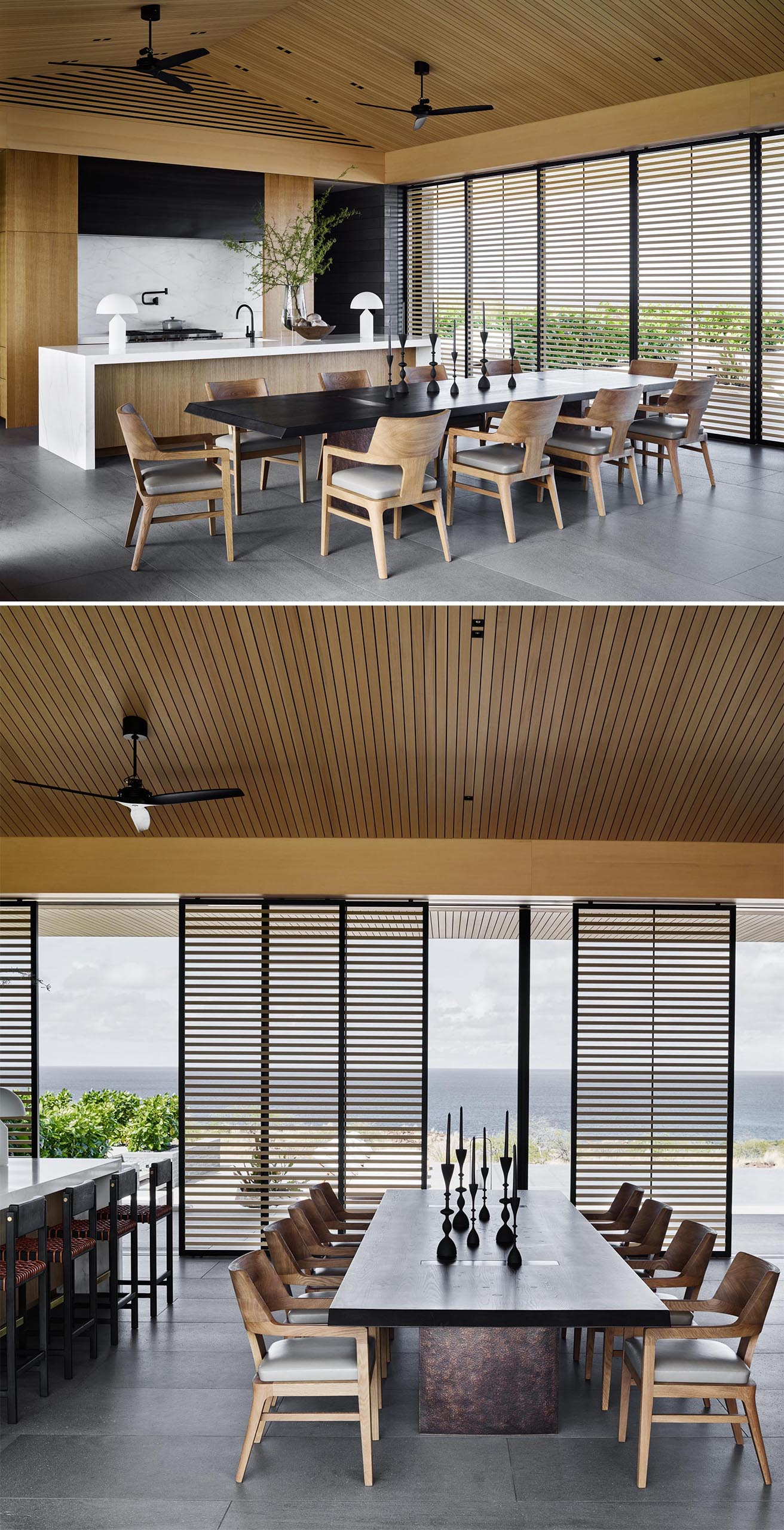This modern open plan dining room includes a large dark table that's surrounded by eight lighter wood chairs.