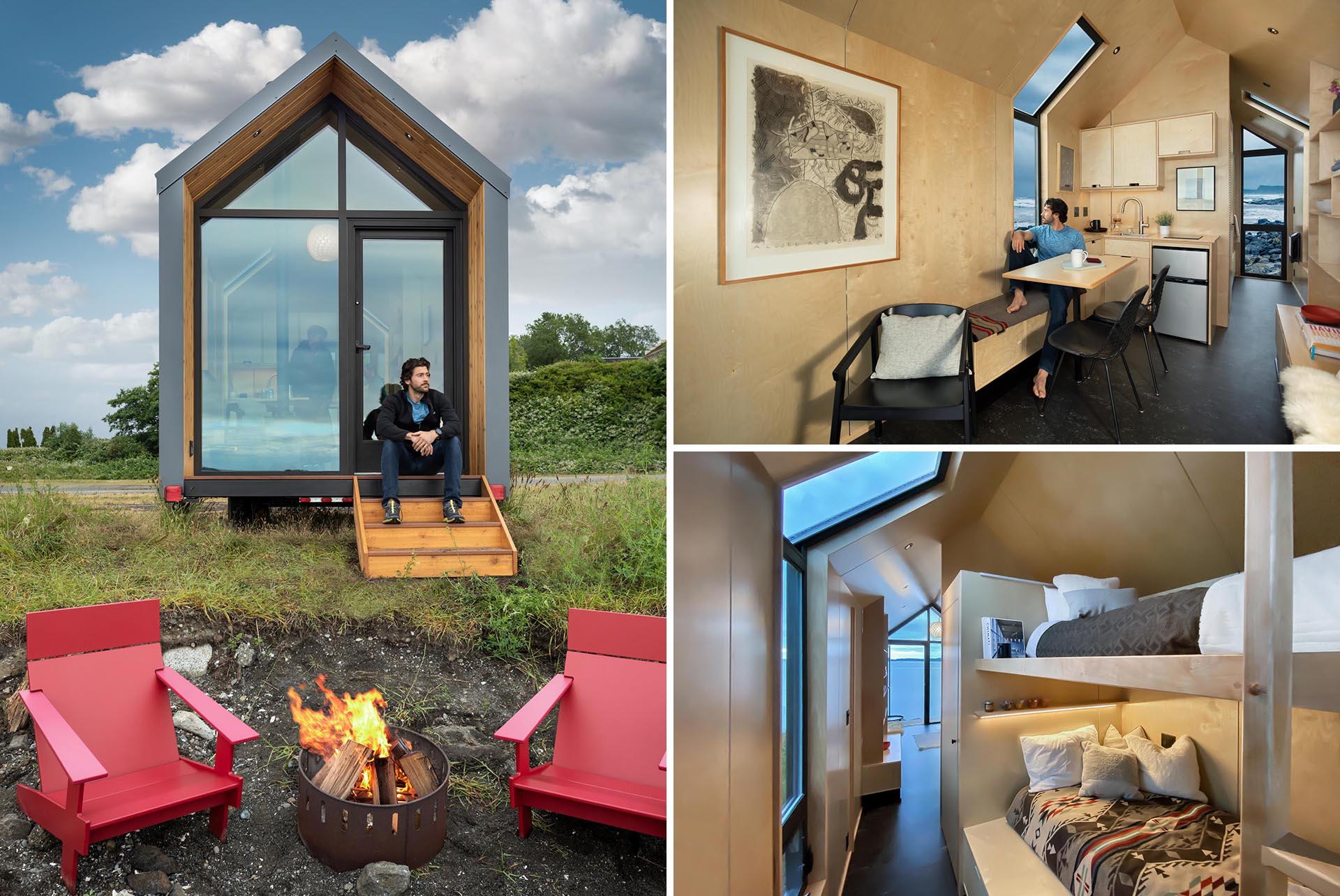 A modern tiny home with a small porch, a birch plywood interior, and bunk beds.