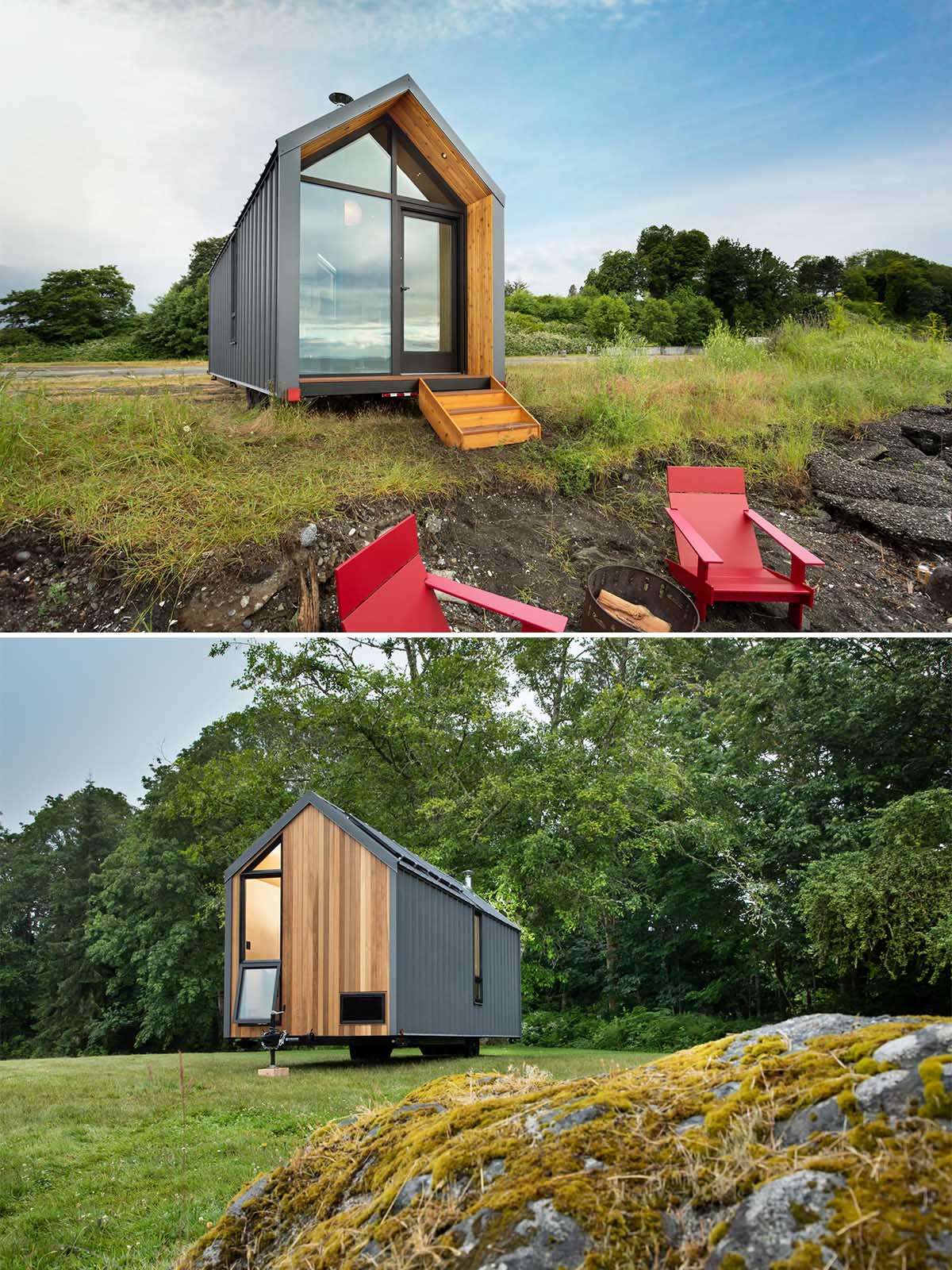 This modern tiny home has a solar array on the roof equipped with batteries, standing-seam metal siding, and cedar accents.
