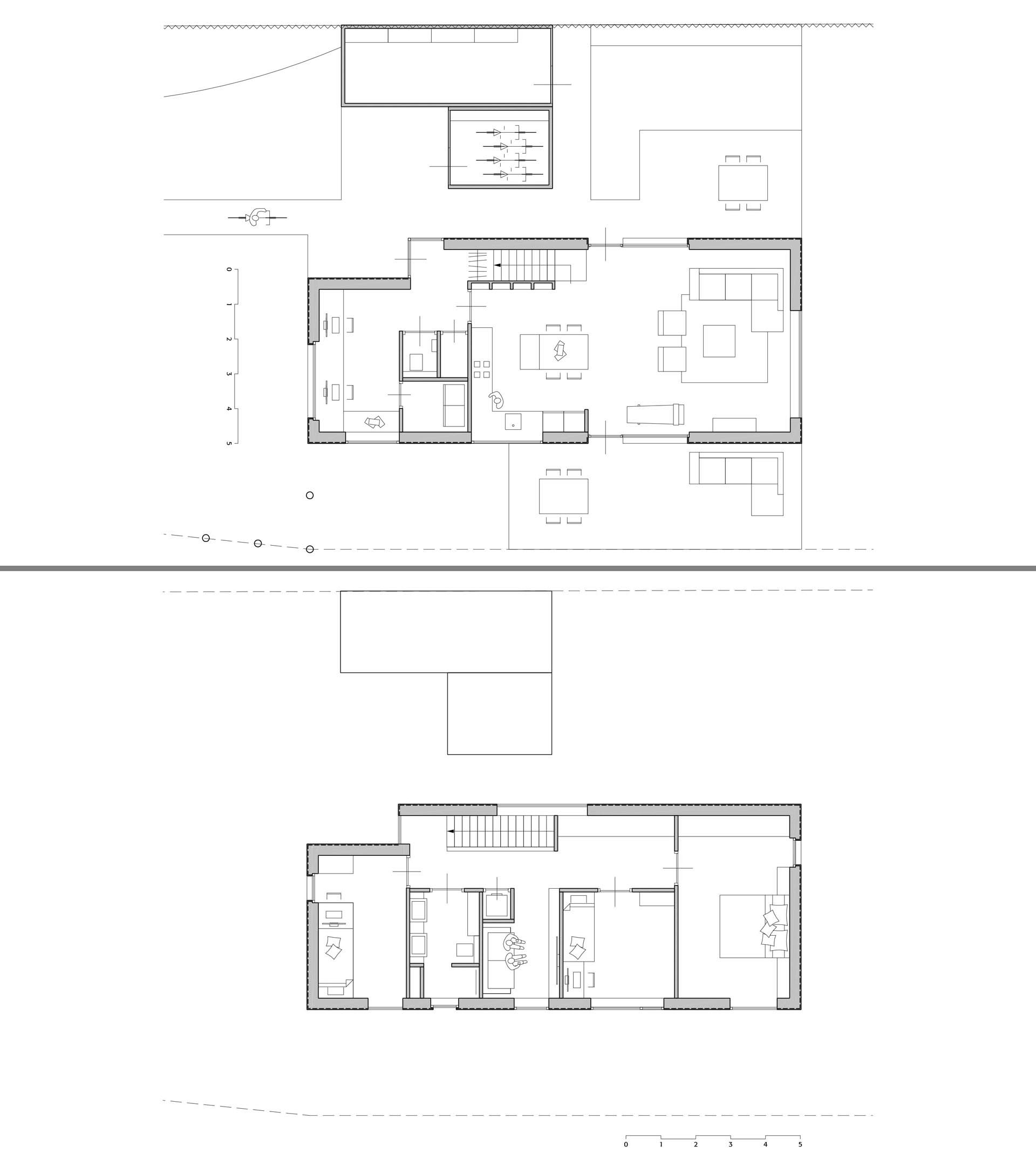 The floor plan of a modern prefab home with two floors.