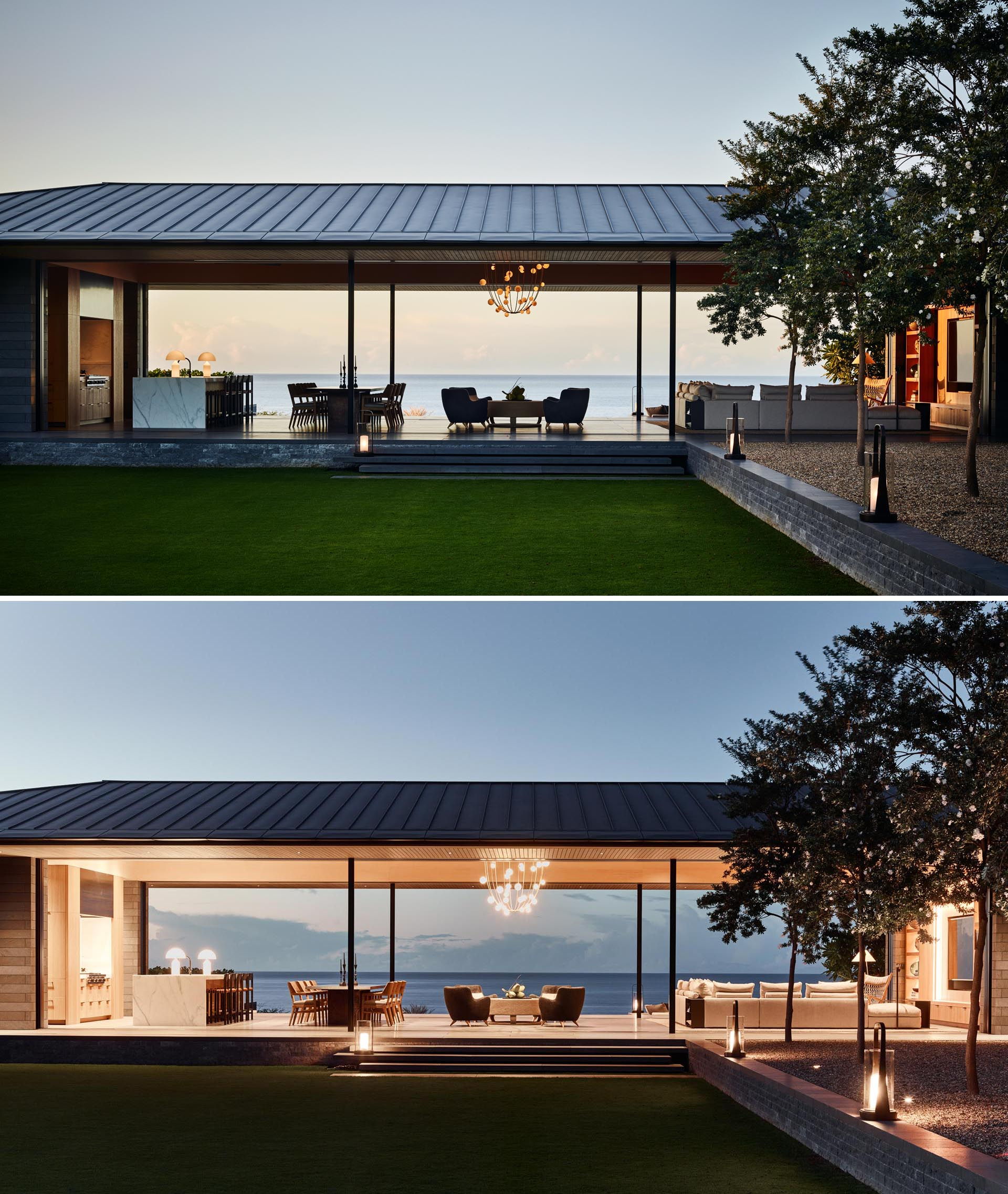 A modern home with a great room that opens to the outdoors.