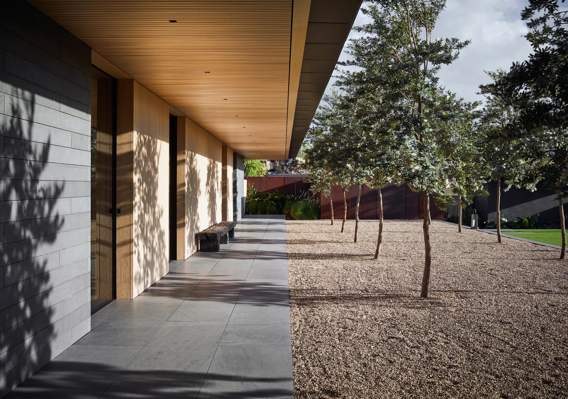 A home with a courtyard and covered path.