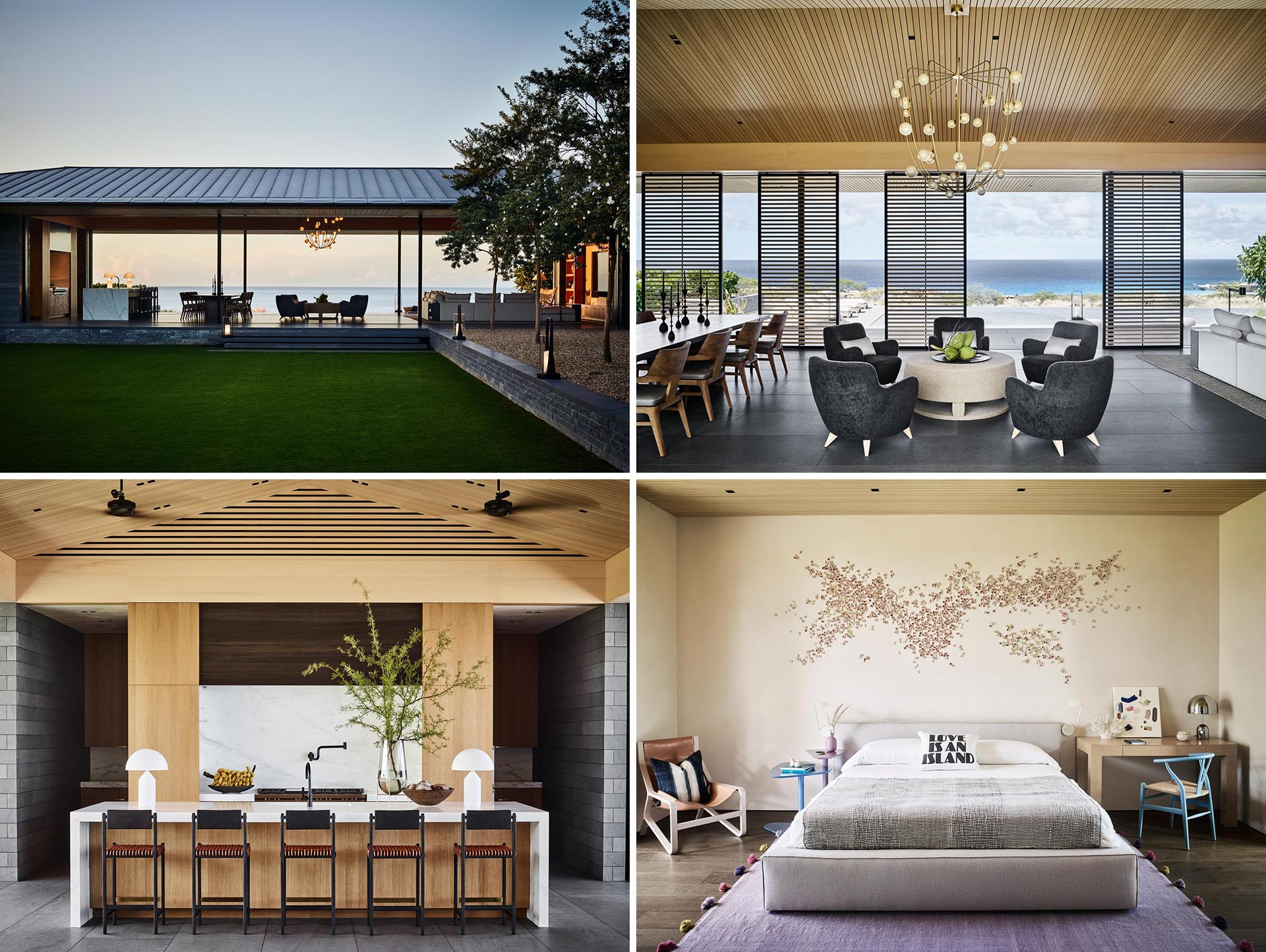 A modern home in Hawaii with a great room that opens to the outdoors.