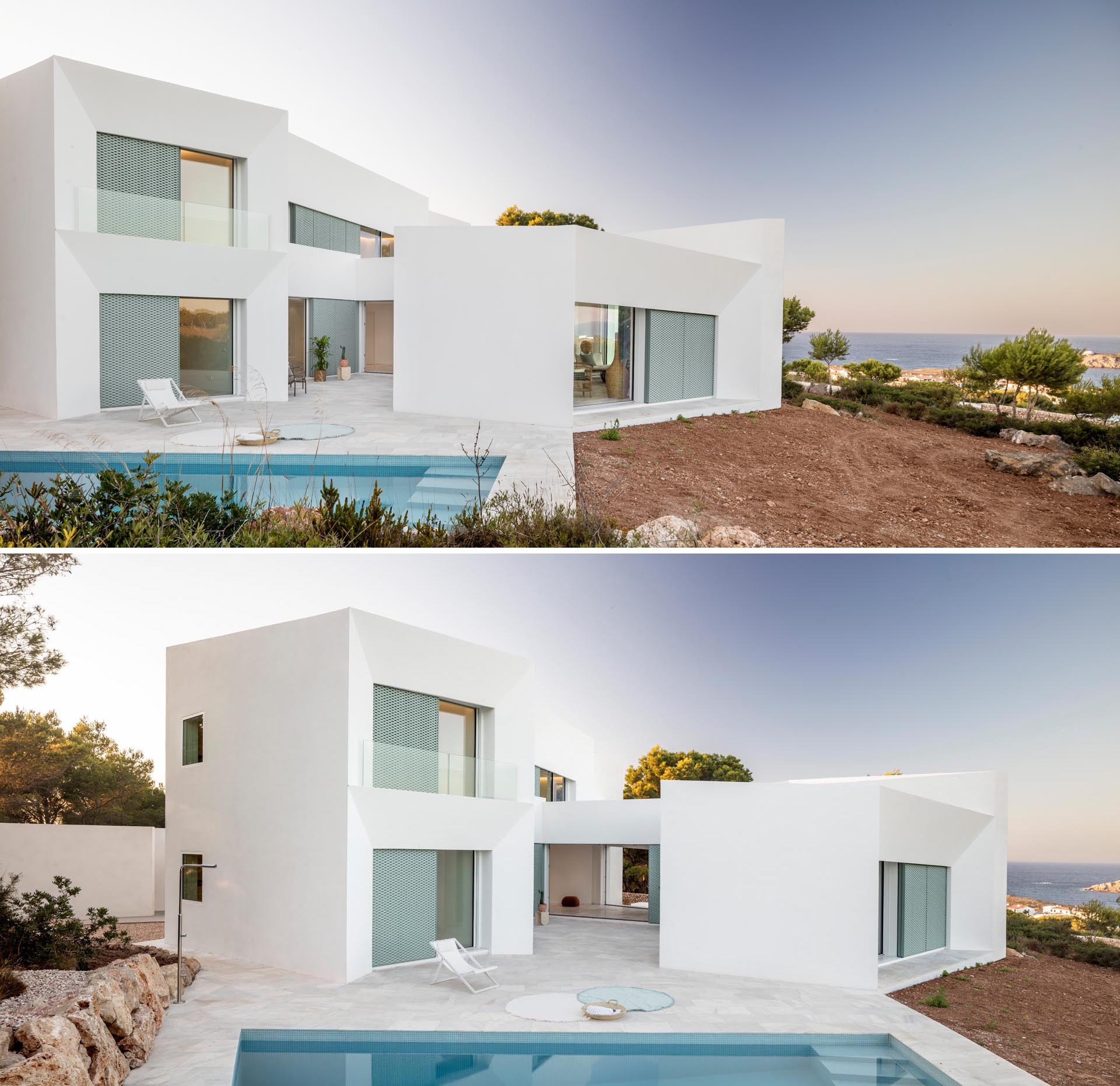 A modern white home on an island with pastel turquoise perforated aluminum screens.