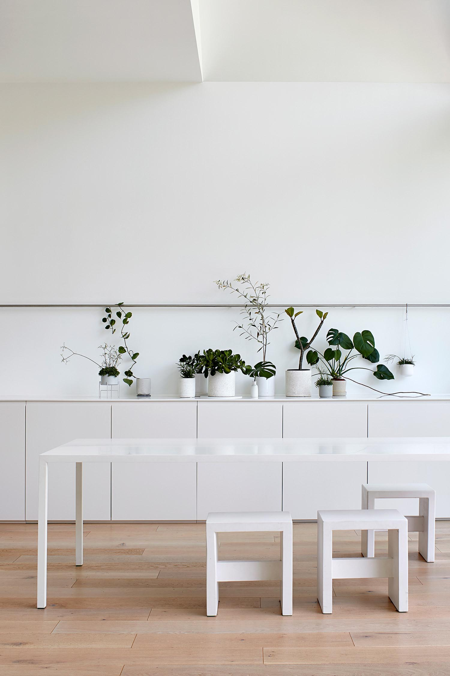 A modern dining room with minimalist white furniture and potted plants for decoration.