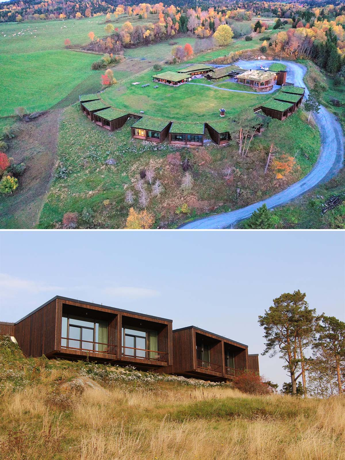 The Øyna Cultural Landscape Hotel in Norway blends into the hillside.